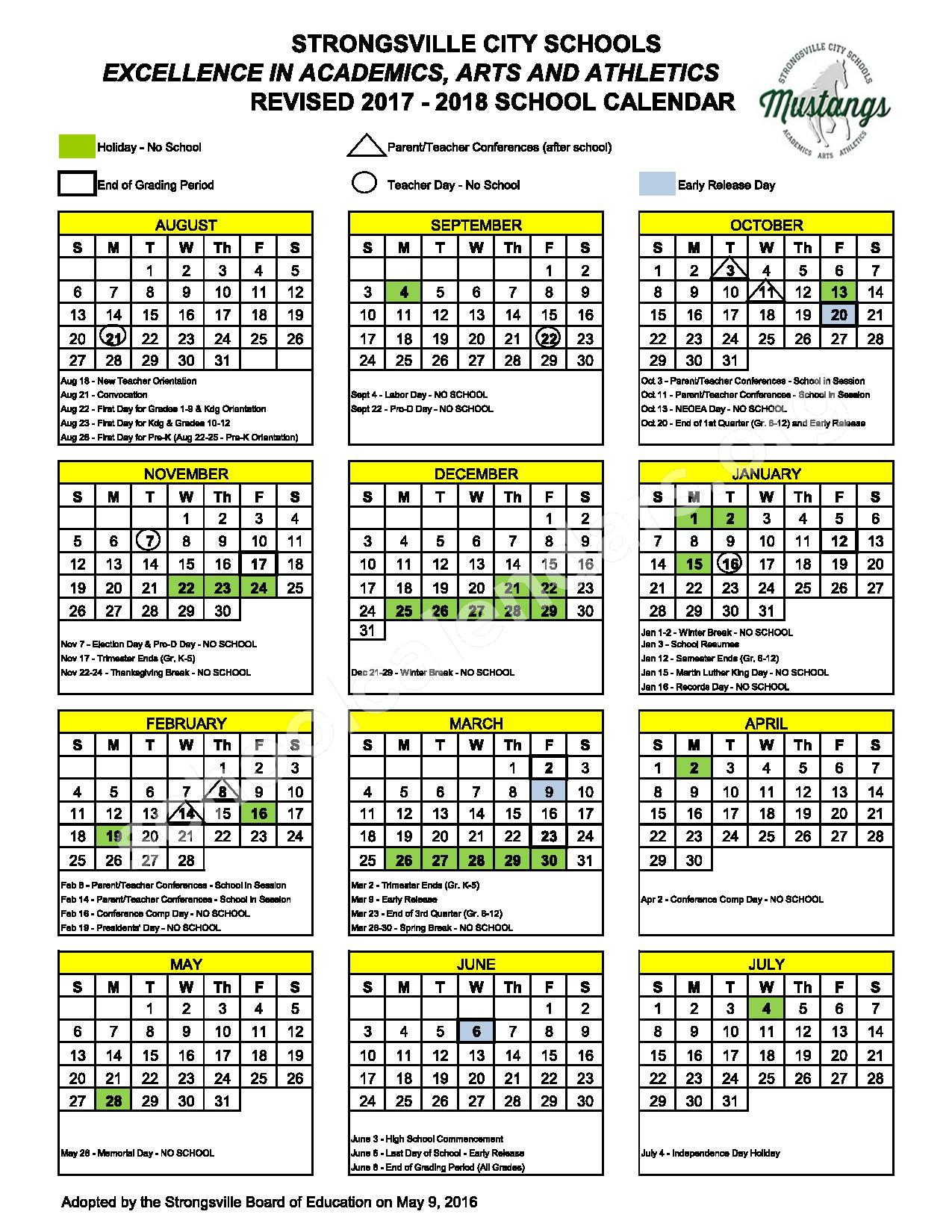 2017 - 2018 District Calendar – Early Learning Preschool – page 1