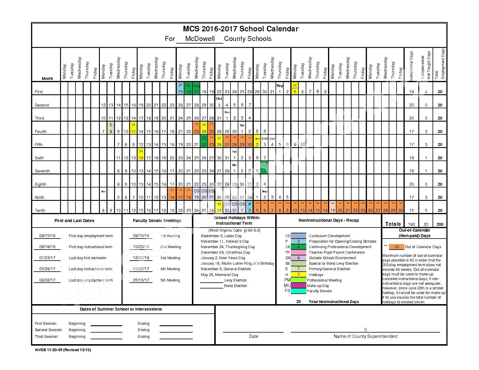 2016 - 2017 School Calendar – Marion Elementary School – page 1
