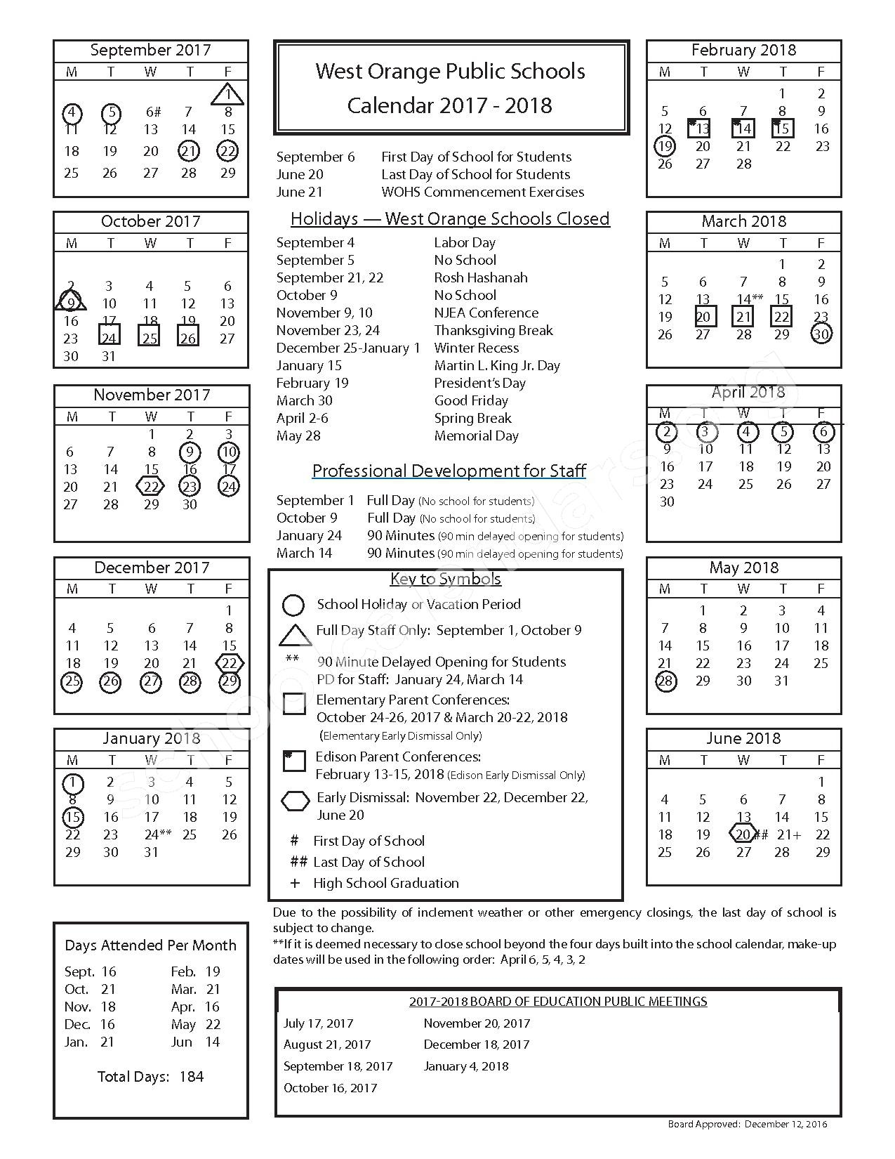 2017 - 2018 School Calendar – West Orange Public Schools – page 1