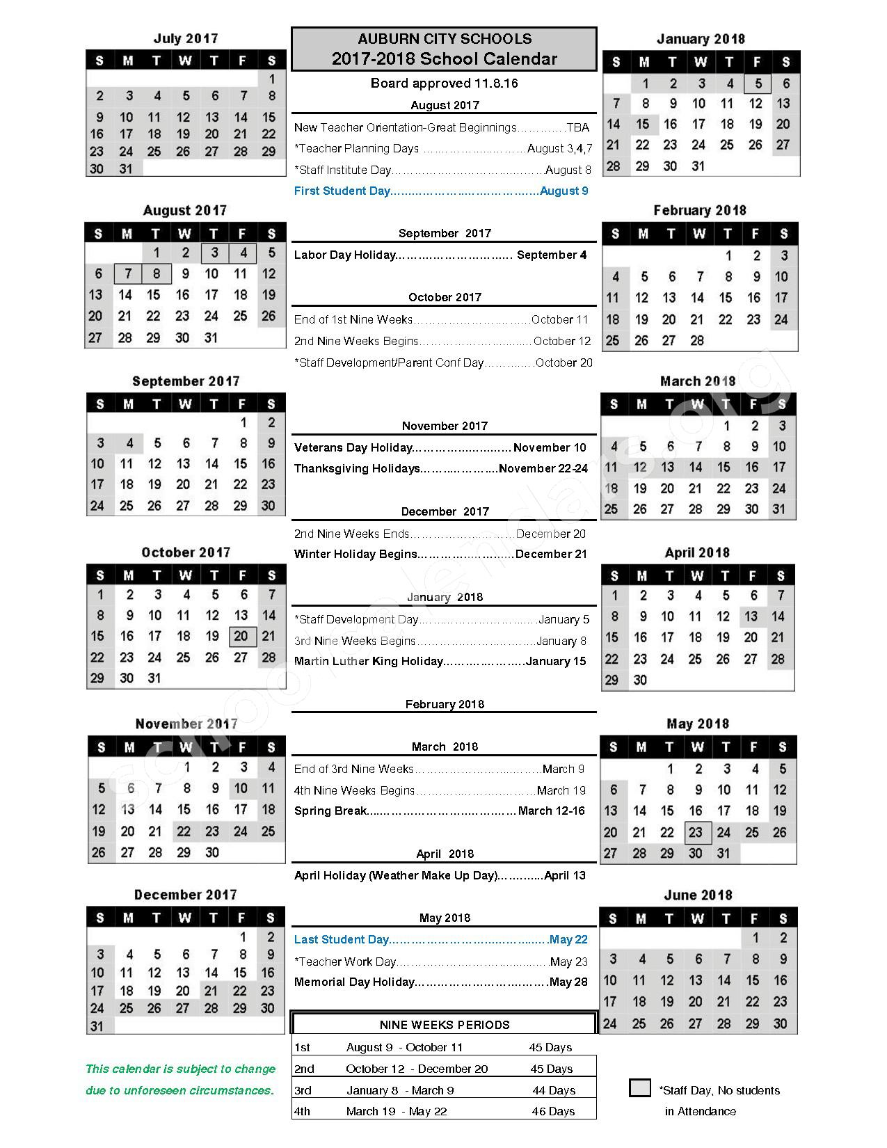 2017 - 2018 District Calendar – Auburn City Schools – page 1