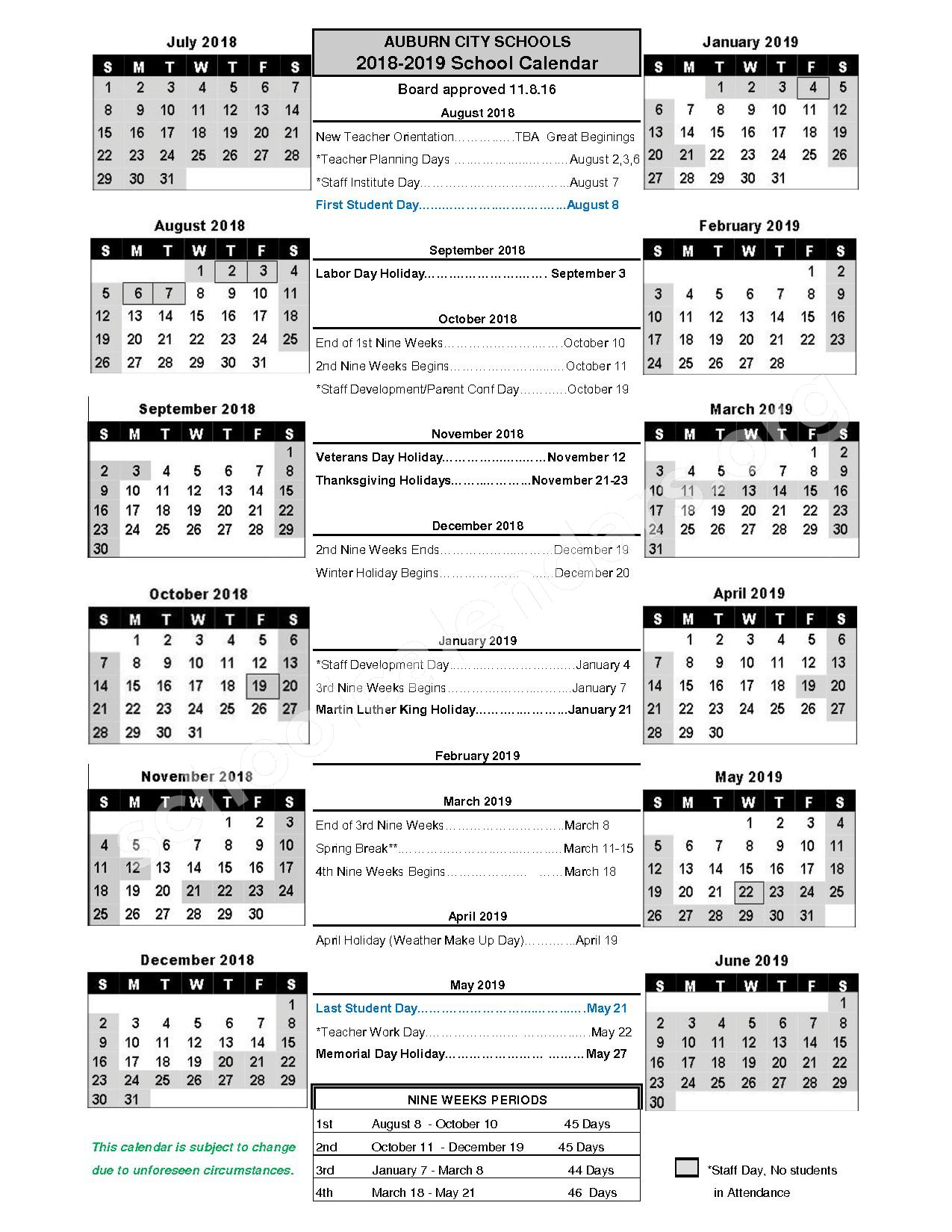 2018 - 2019 District Calendar – Auburn City Schools – page 1