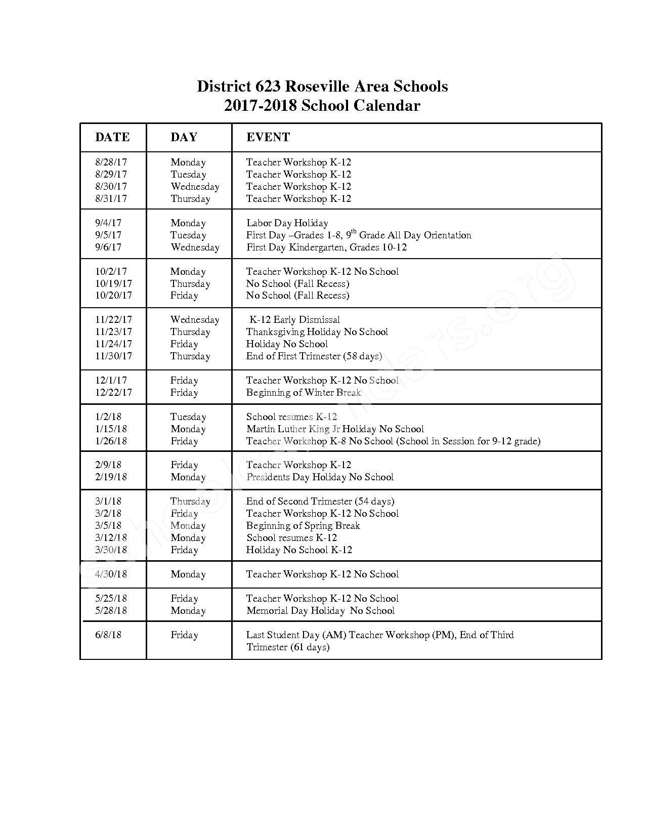 2017 - 2018 School Calendar – Parkview Center School – page 2
