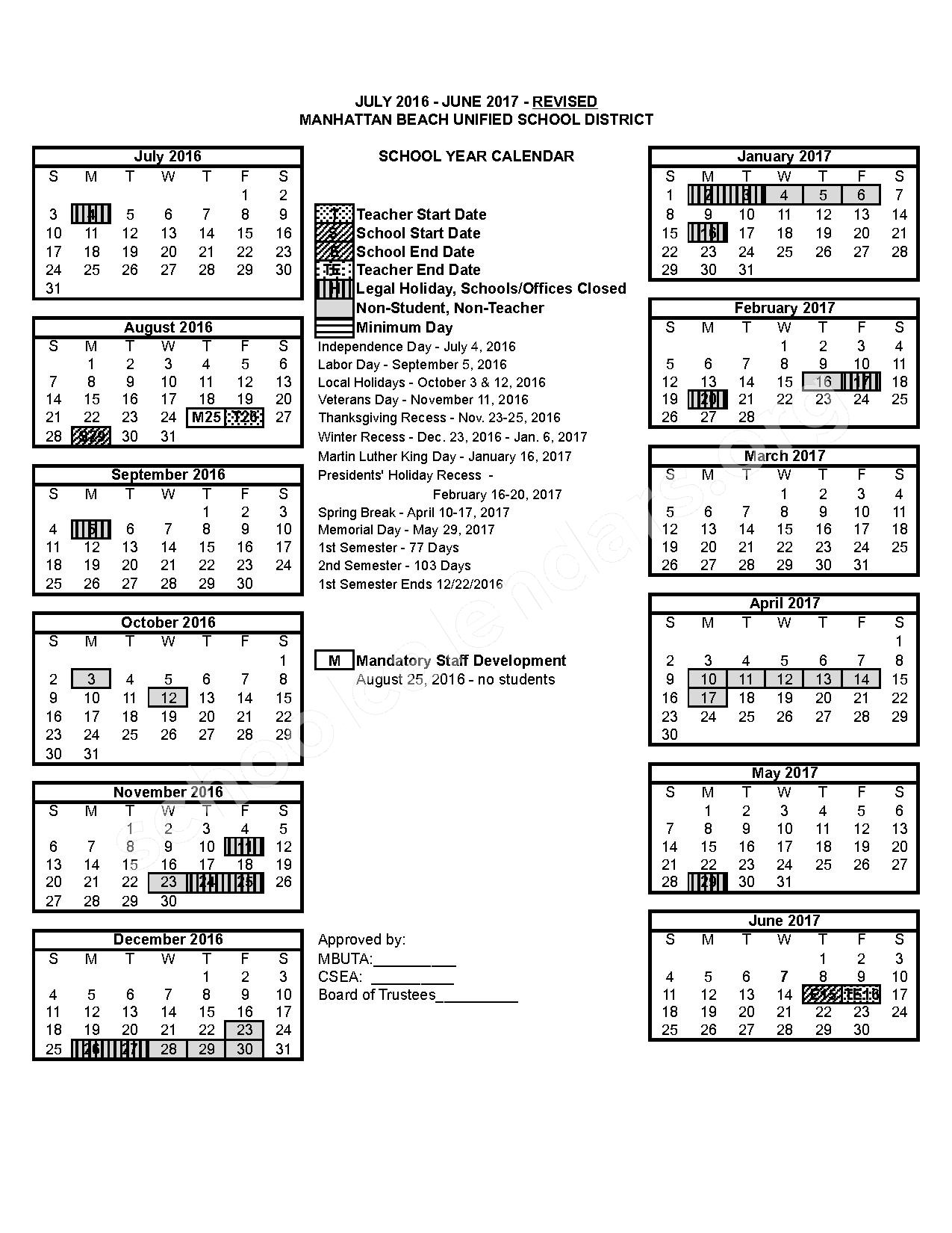 2016 - 2017 School Calendar – Manhattan Beach Unified School District – page 1