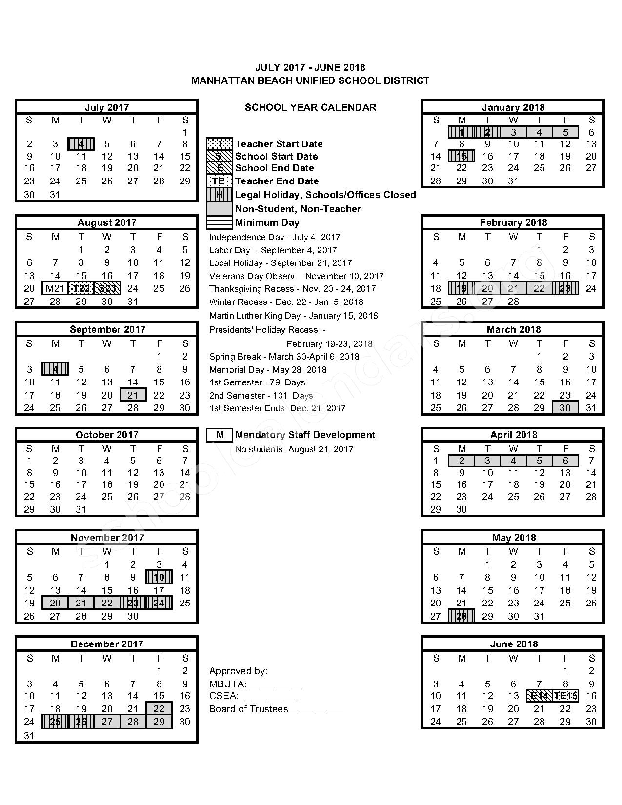 2017 - 2018 School Calendar – Manhattan Beach Unified School District – page 1