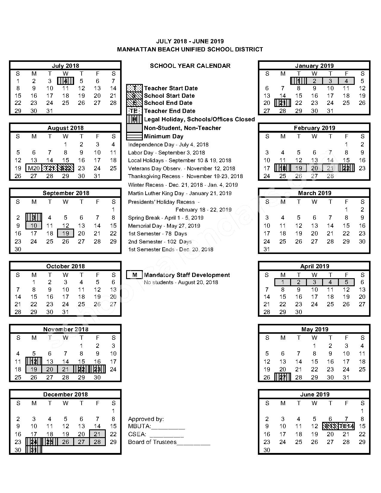 2018 - 2019 Calendar – Manhattan Beach Unified School District – page 1