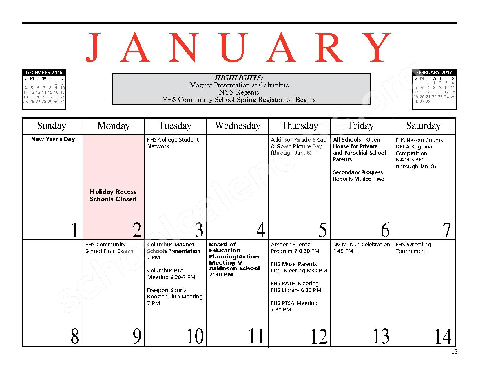 2016 - 2017 District Events Calendar & Handbook – Freeport Union Free School District – page 14