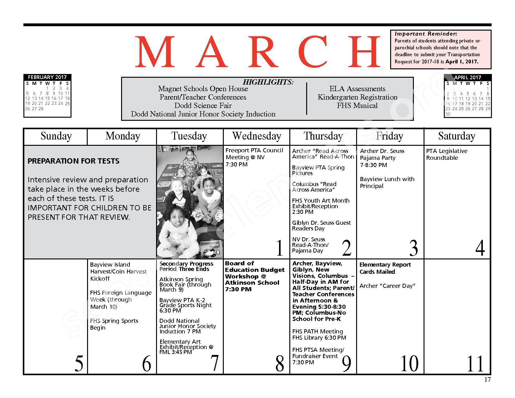 2016 - 2017 District Events Calendar & Handbook – Freeport Union Free School District – page 18