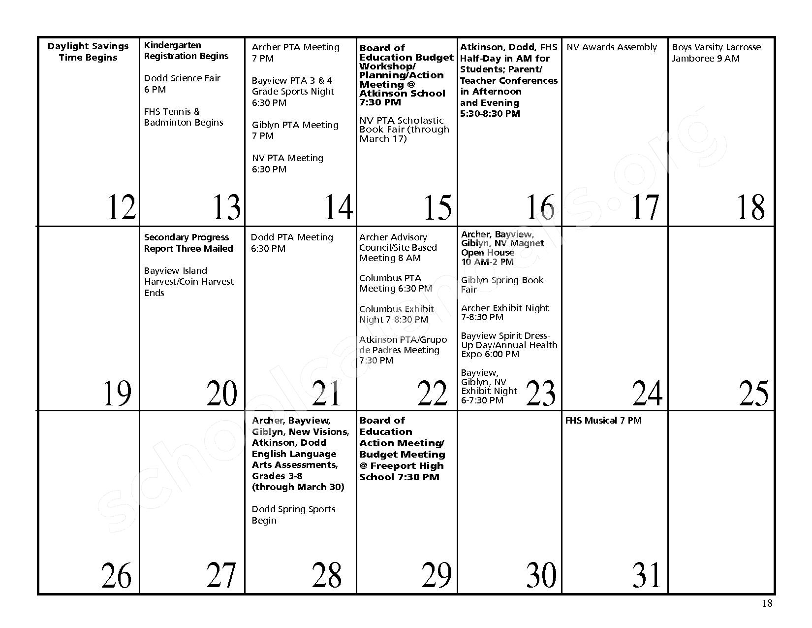 2016 - 2017 District Events Calendar & Handbook – Freeport Union Free School District – page 19