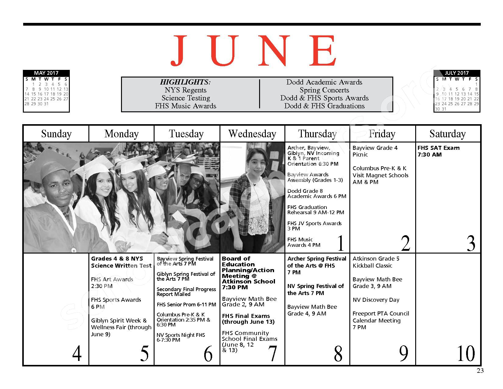 2016 - 2017 District Events Calendar & Handbook – Freeport Union Free School District – page 24