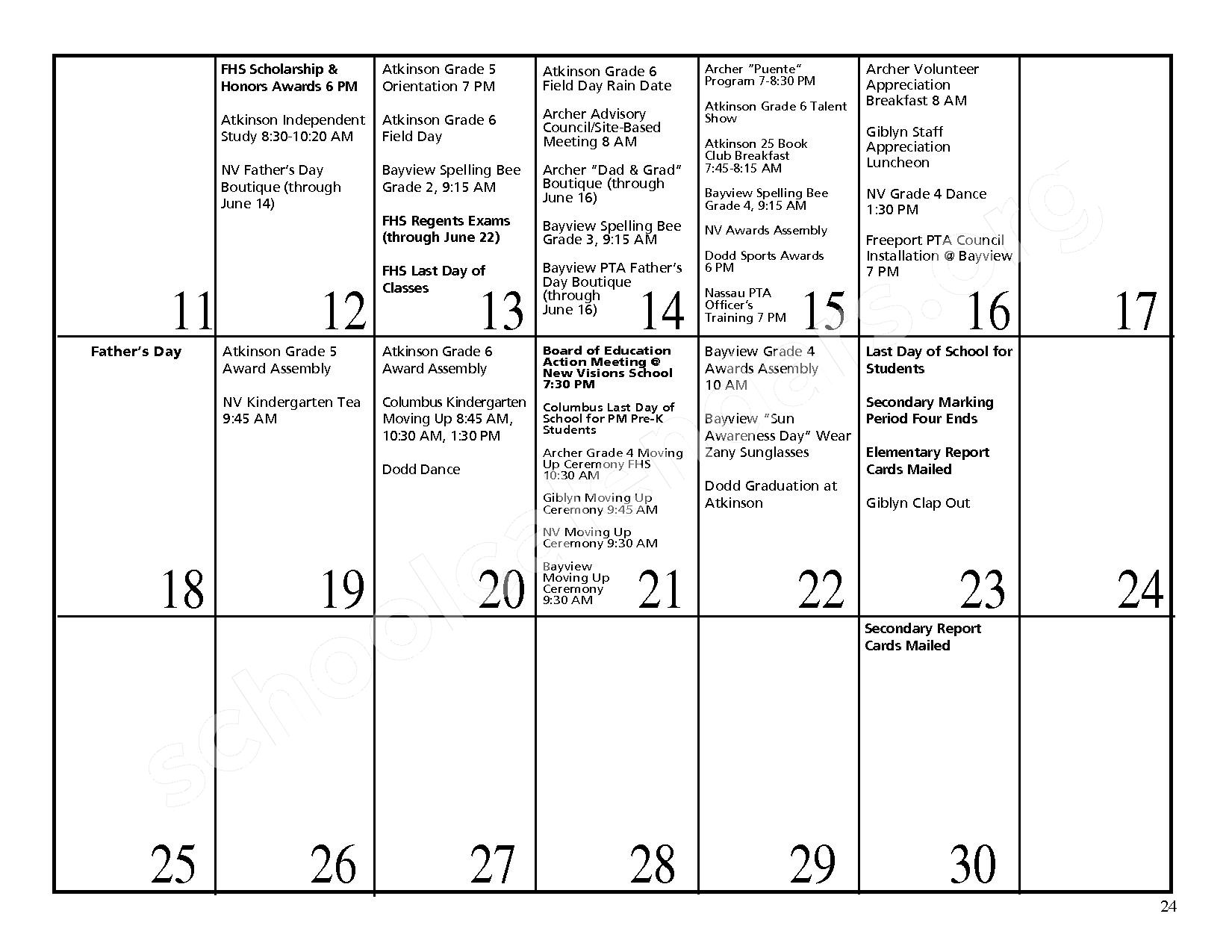 2016 - 2017 District Events Calendar & Handbook – Freeport Union Free School District – page 25