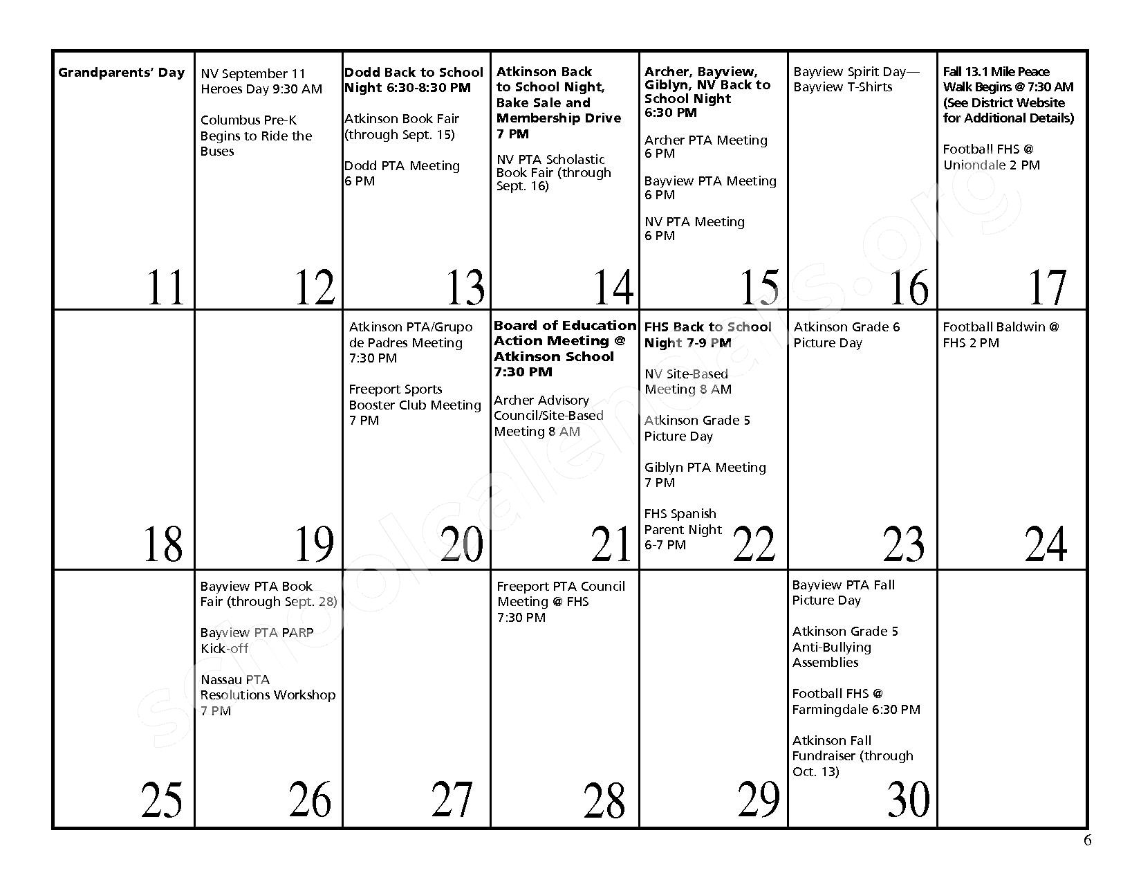 2016 - 2017 District Events Calendar & Handbook – Freeport Union Free School District – page 7