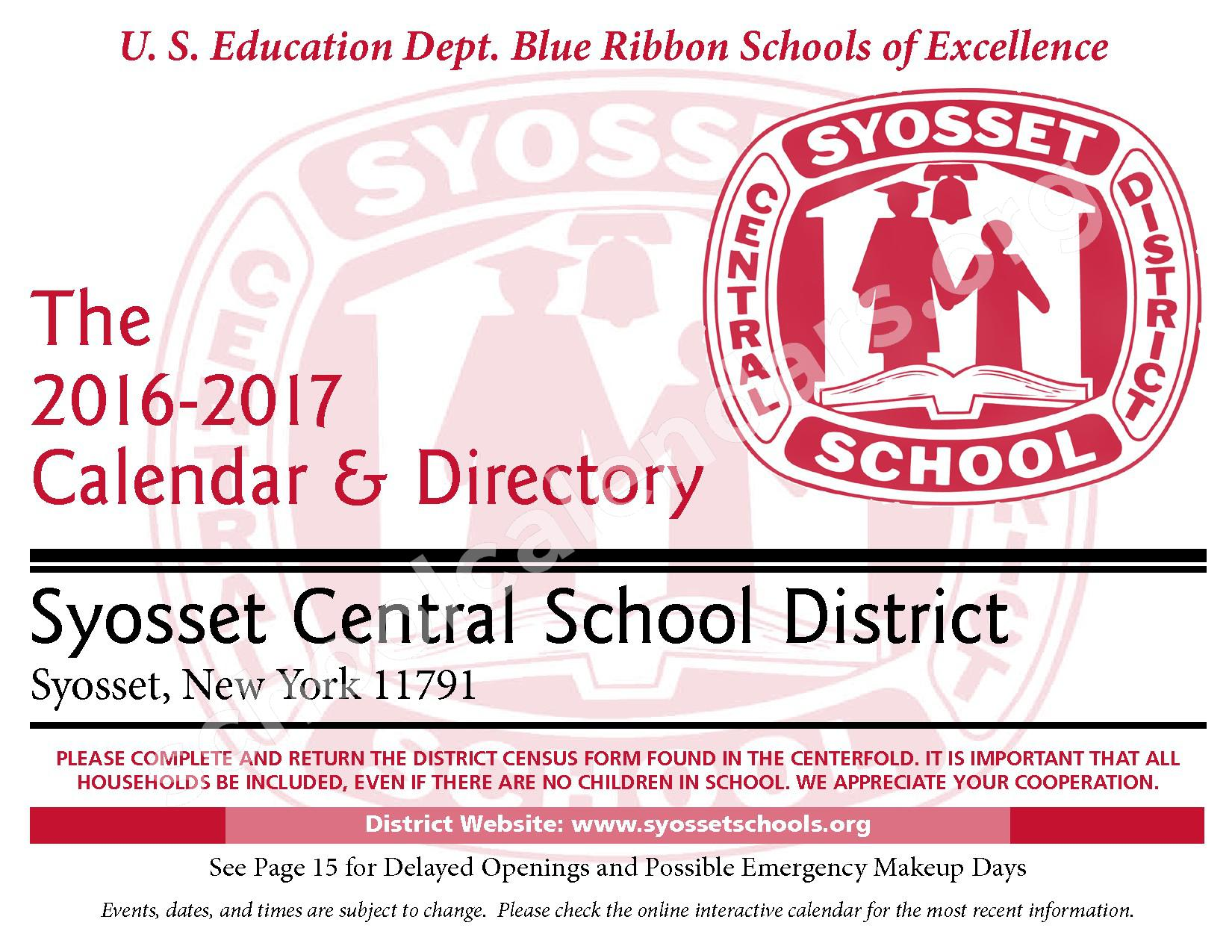 2016 - 2017 District Calendar – Syosset Central School District – page 1