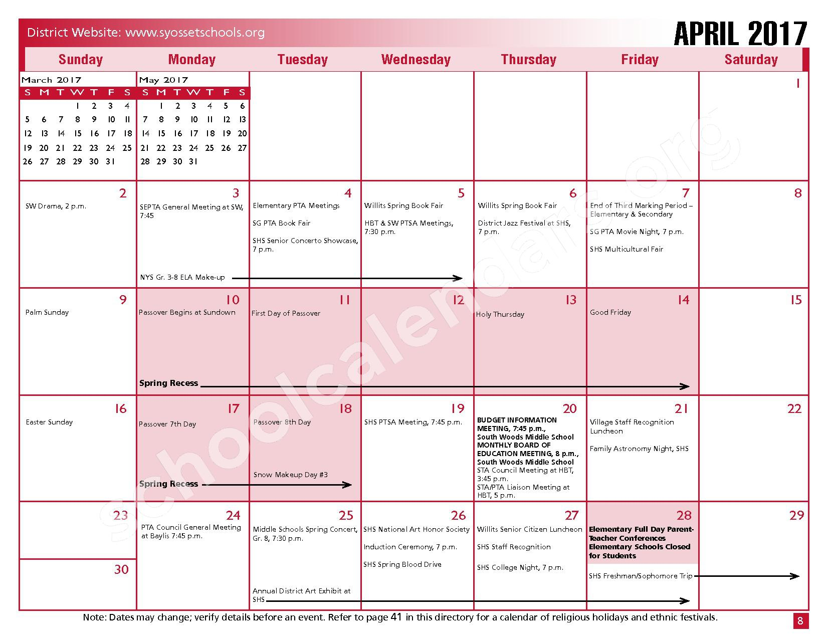 2016 - 2017 District Calendar – Syosset Central School District – page 10