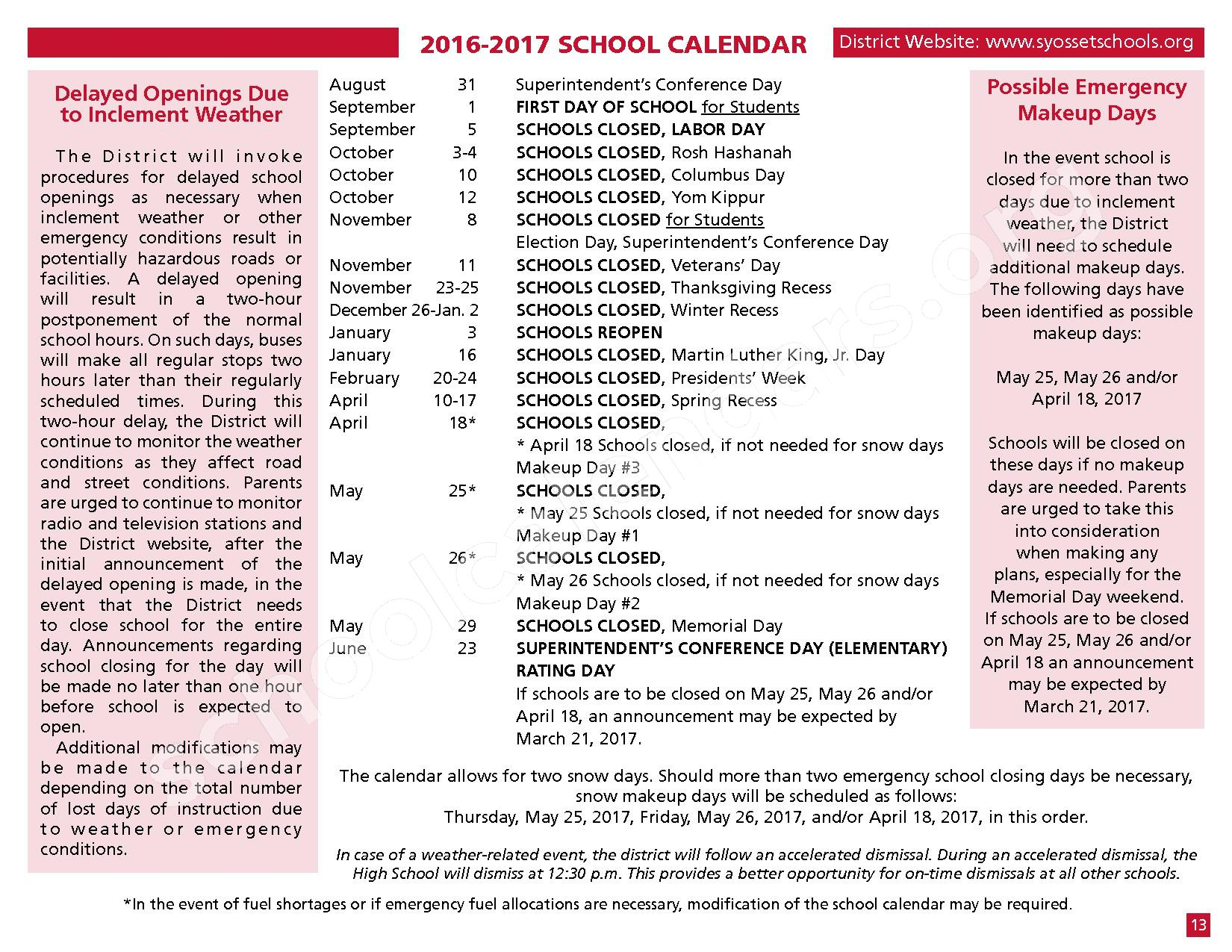 2016 - 2017 District Calendar – Syosset Central School District – page 15