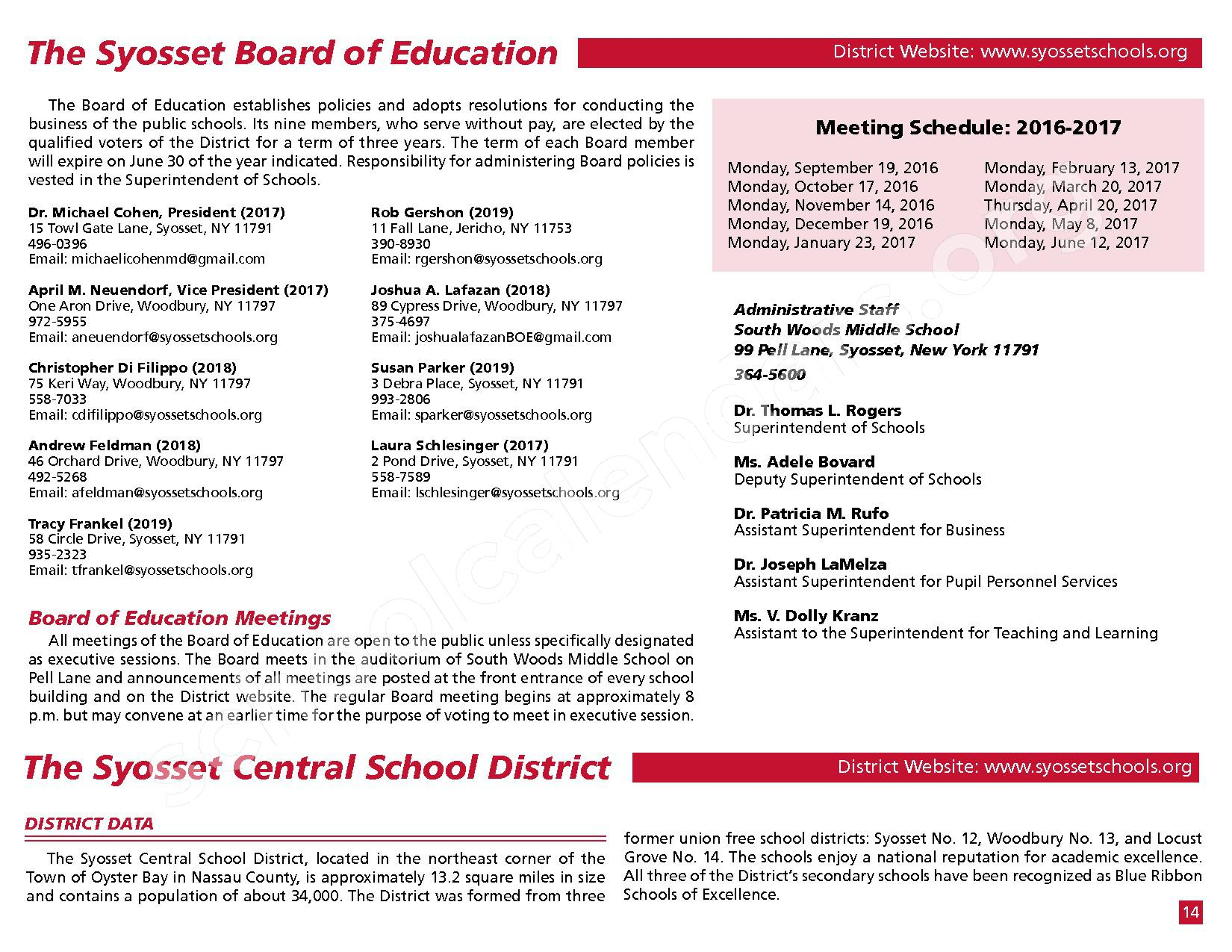 2016 - 2017 District Calendar – Syosset Central School District – page 16