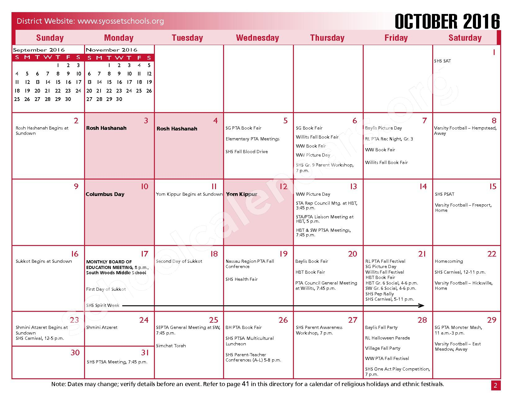 2016 - 2017 District Calendar – Syosset Central School District – page 4