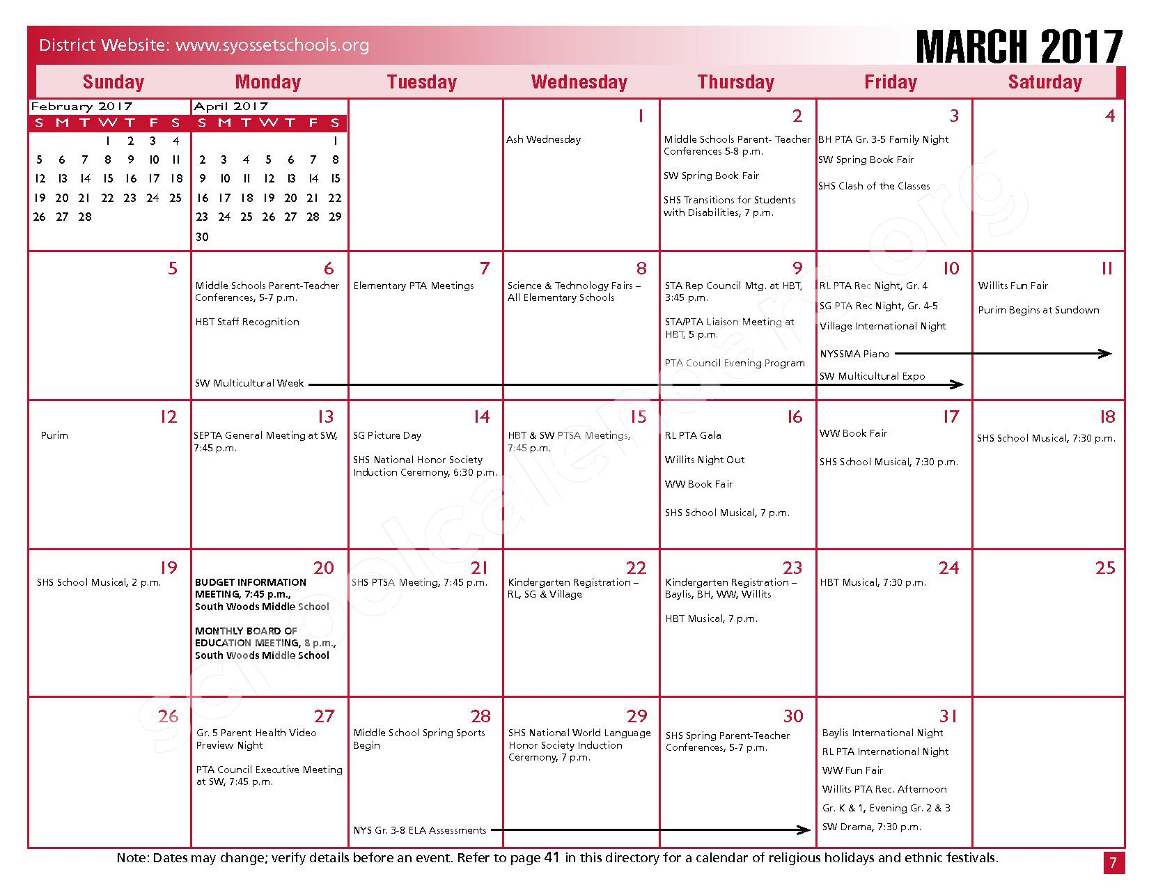 2016 - 2017 District Calendar – Syosset Central School District – page 9