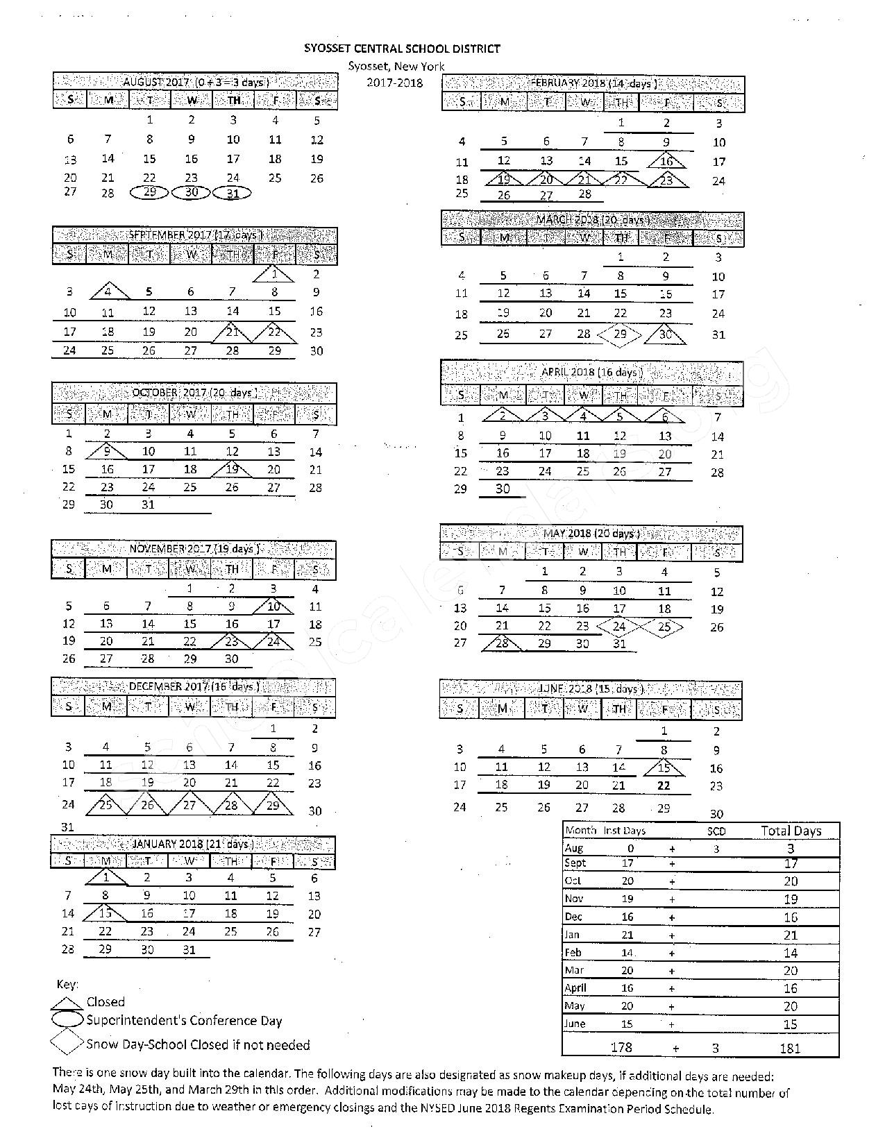 2017 - 2018 District Calendar – Syosset Central School District – page 2