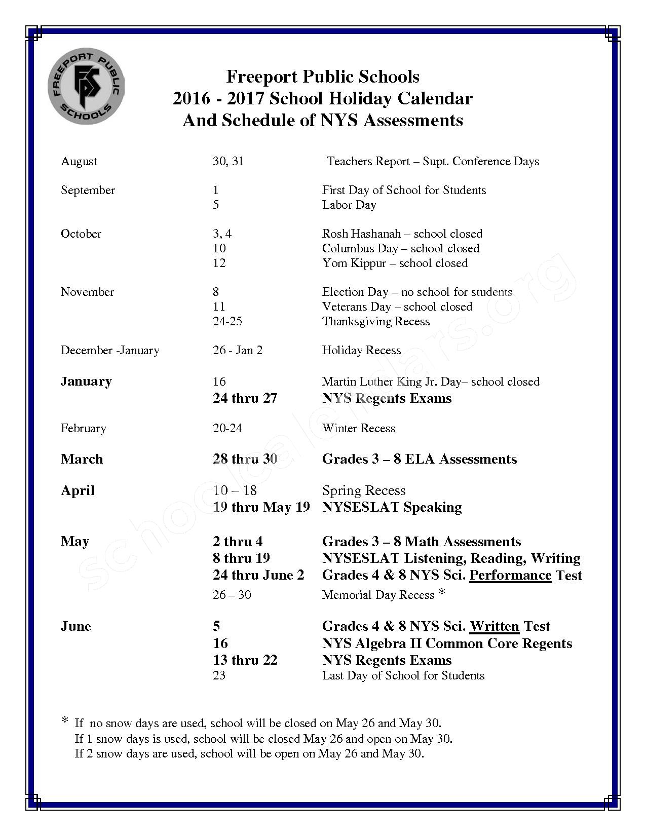 2016 - 2017 Holidays & Testing Calendar – Freeport Union Free School District – page 1