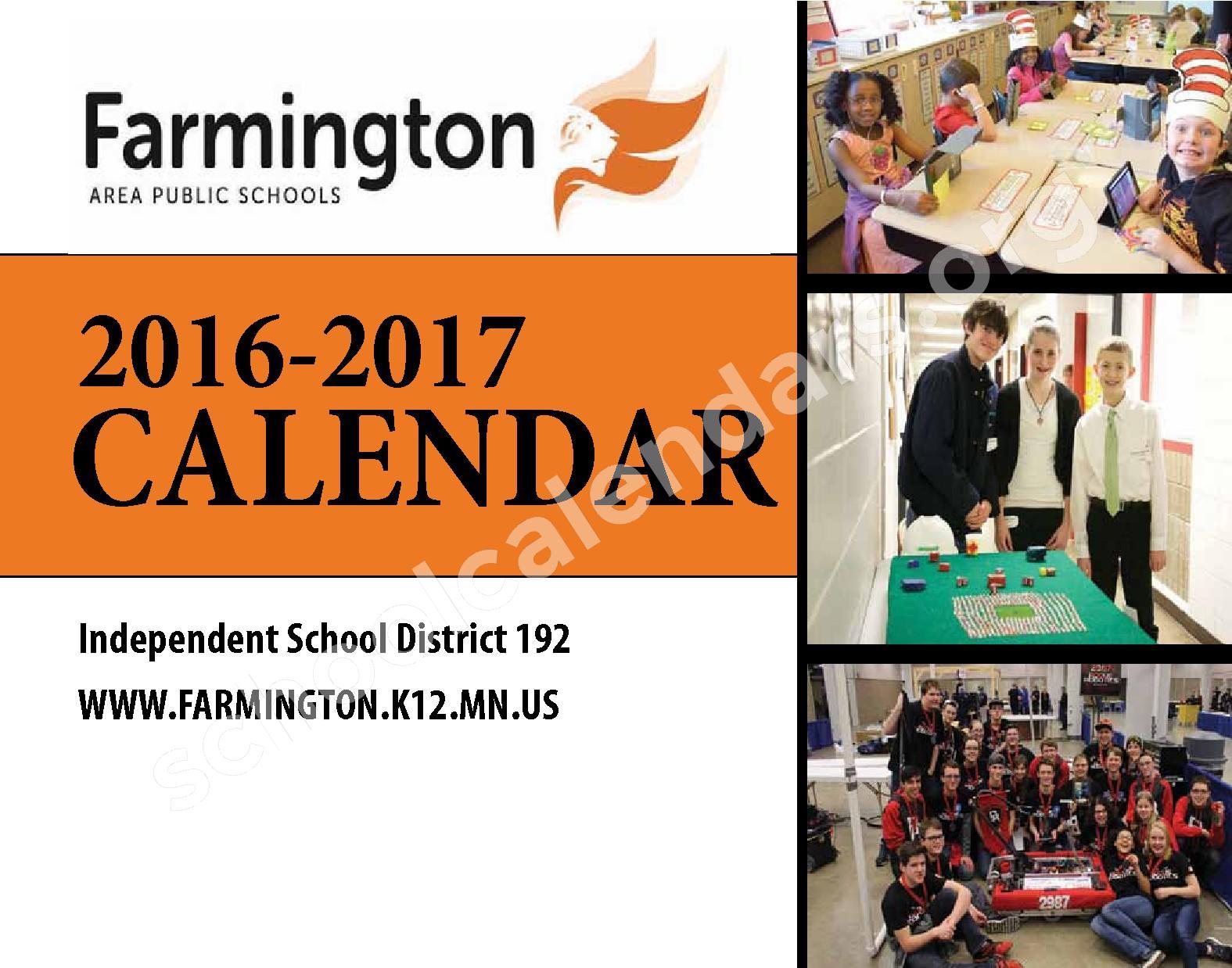 2016 - 2017 District Calendar & Handbook – Farmington Public School District – page 1