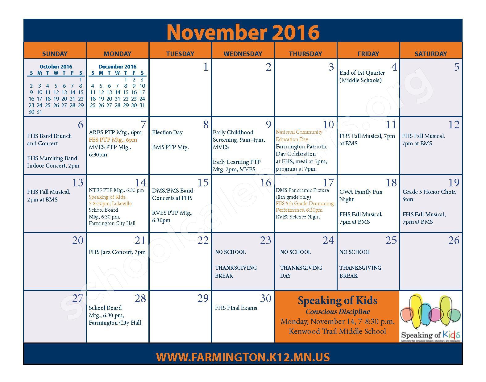 2016 - 2017 District Calendar & Handbook – Farmington Public School District – page 11