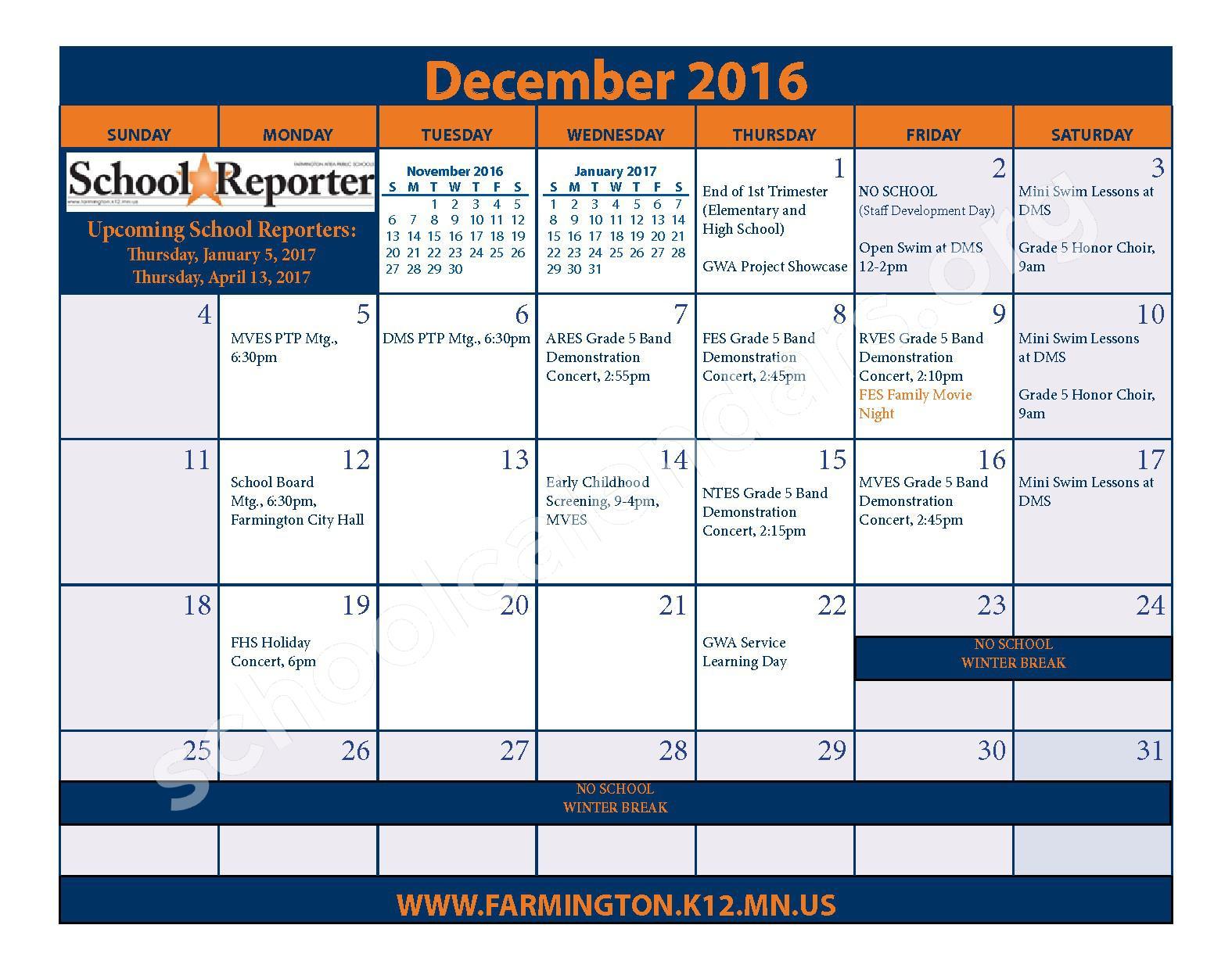 2016 - 2017 District Calendar & Handbook – Farmington Public School District – page 13
