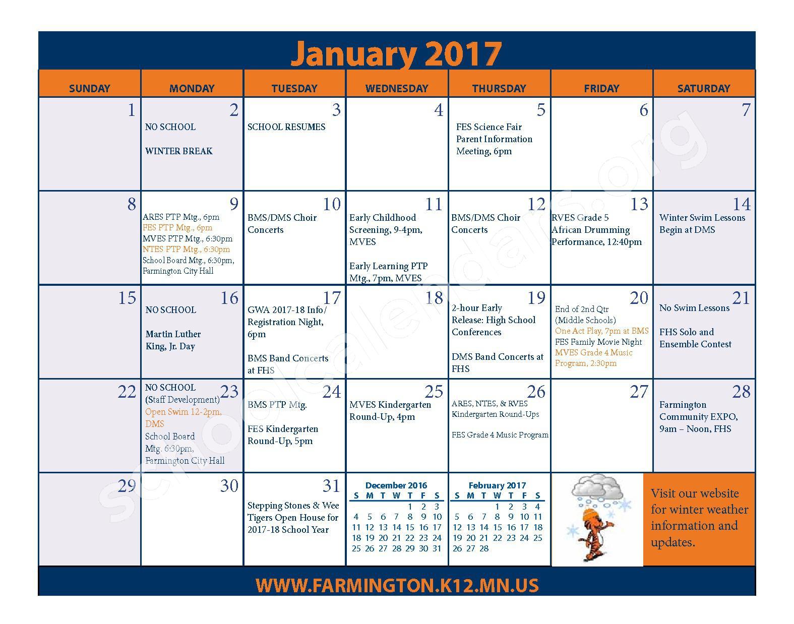 2016 - 2017 District Calendar & Handbook – Farmington Public School District – page 15