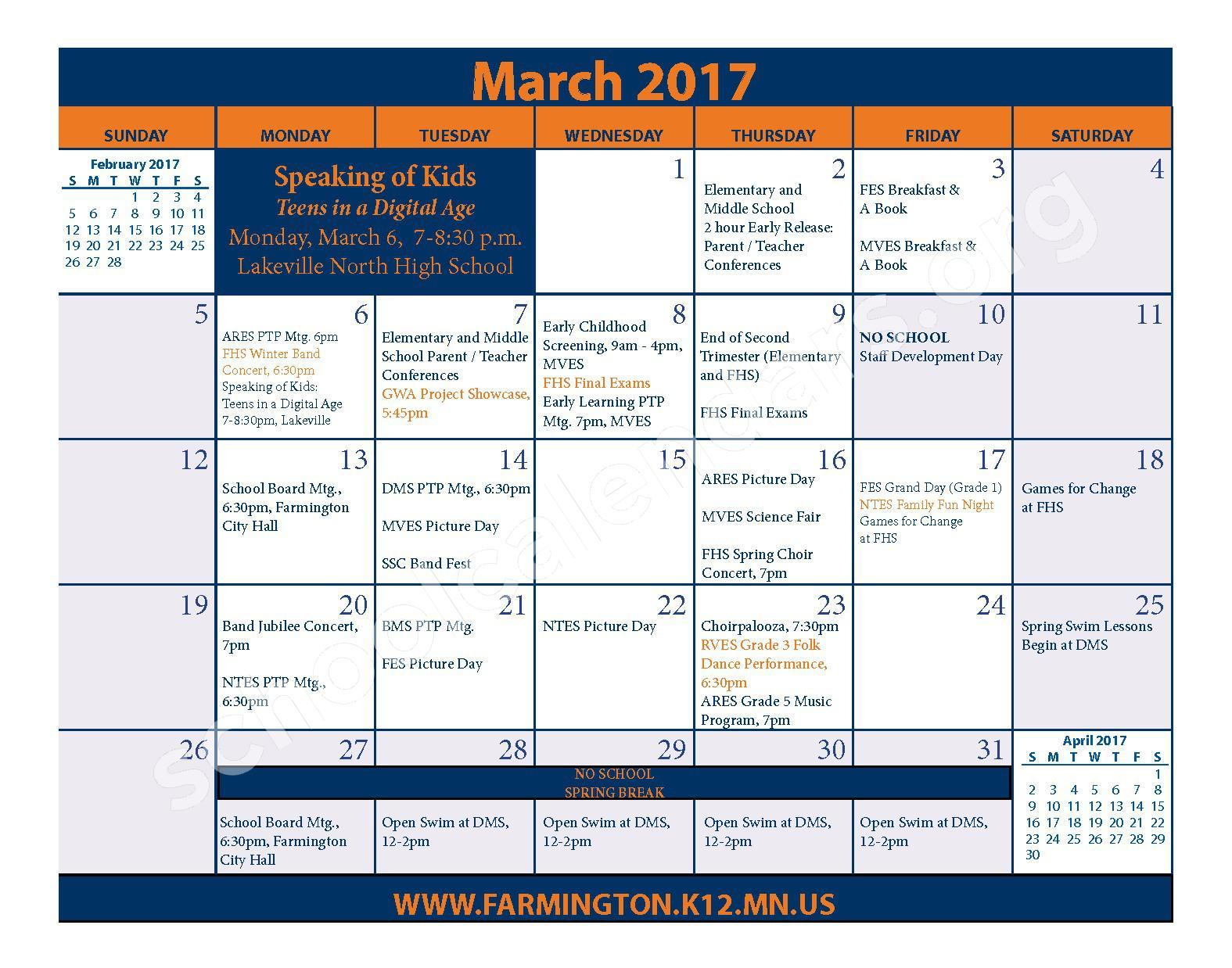 2016 - 2017 District Calendar & Handbook – Farmington Public School District – page 19