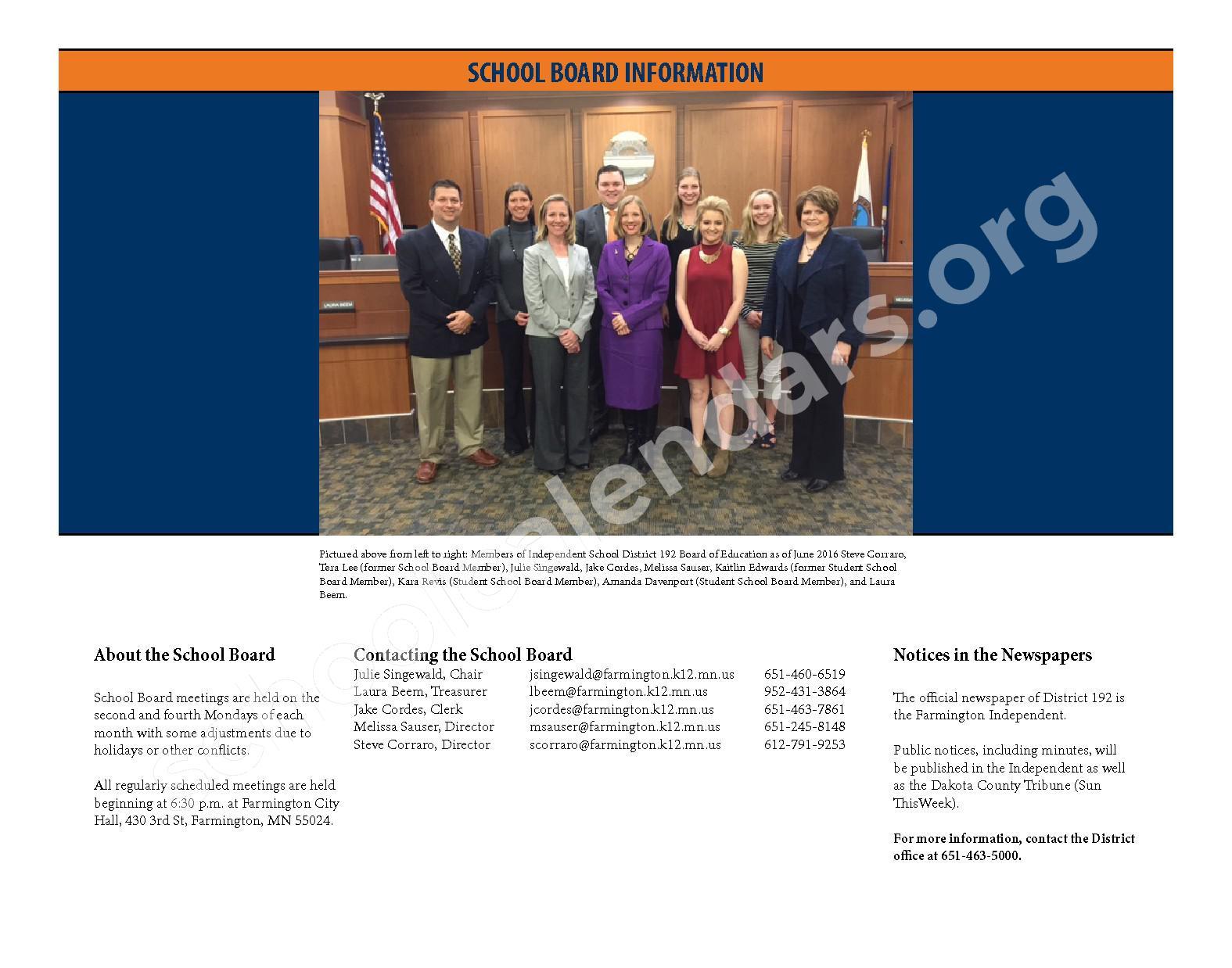 2016 - 2017 District Calendar & Handbook – Farmington Public School District – page 2