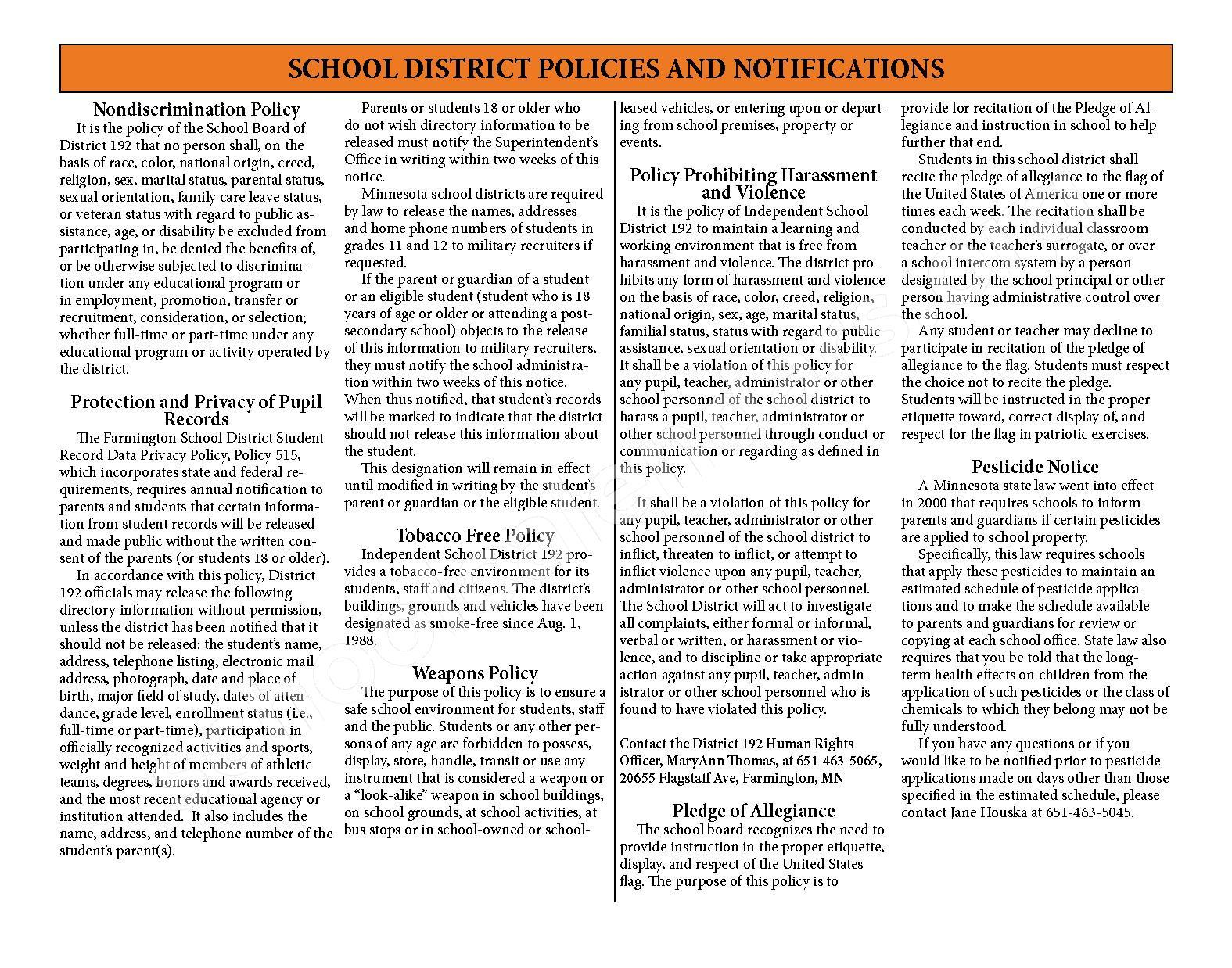 2016 - 2017 District Calendar & Handbook – Farmington Public School District – page 28