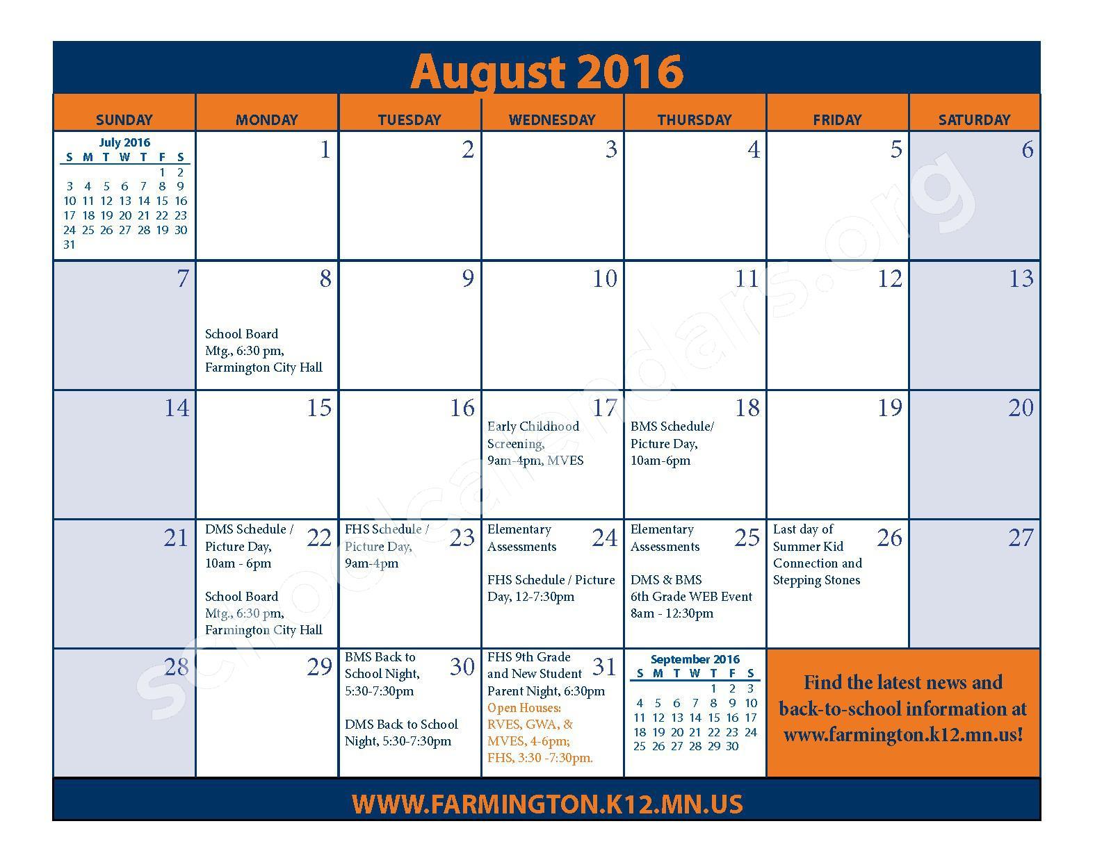 2016 - 2017 District Calendar & Handbook – Farmington Public School District – page 5