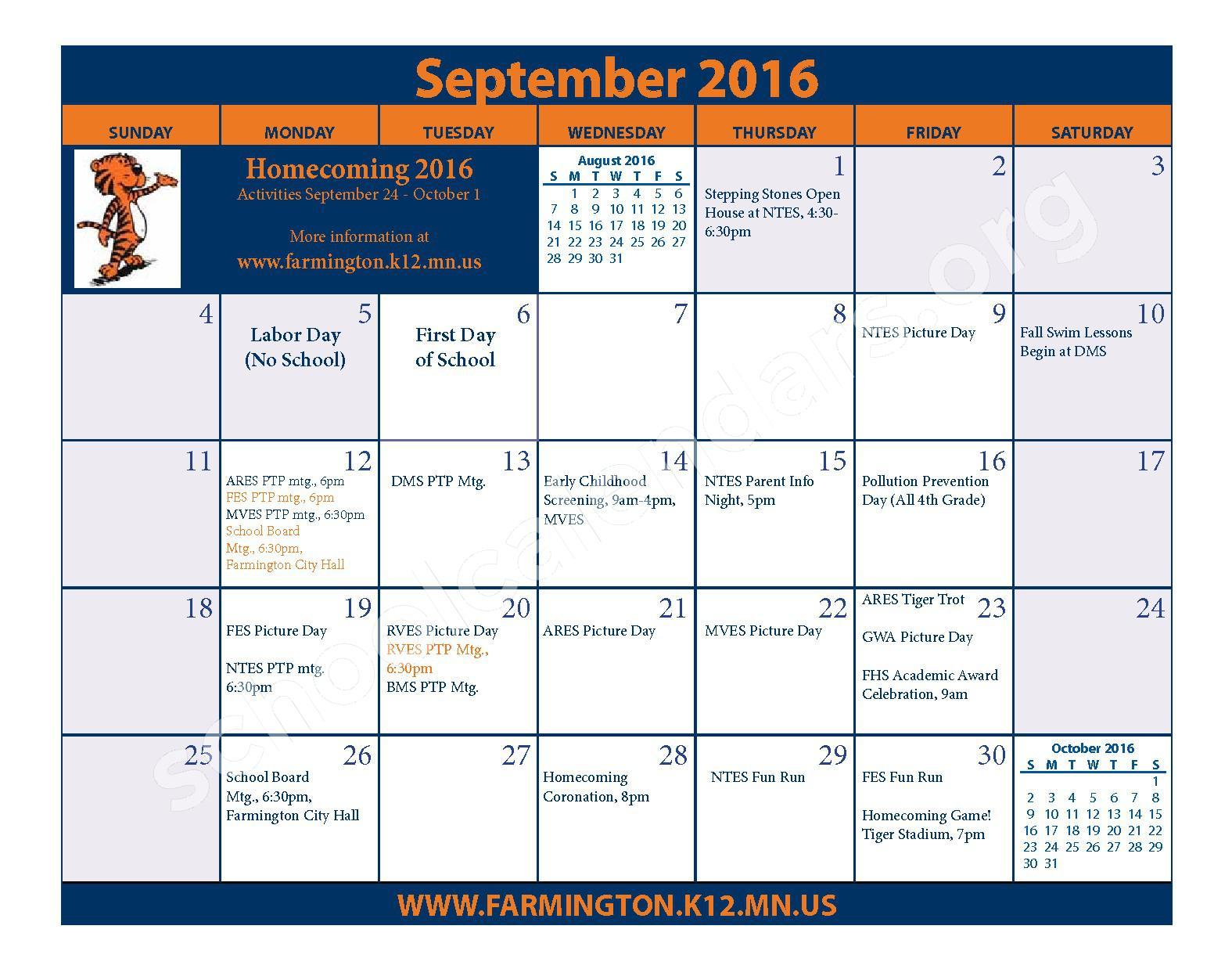 2016 - 2017 District Calendar & Handbook – Farmington Public School District – page 7
