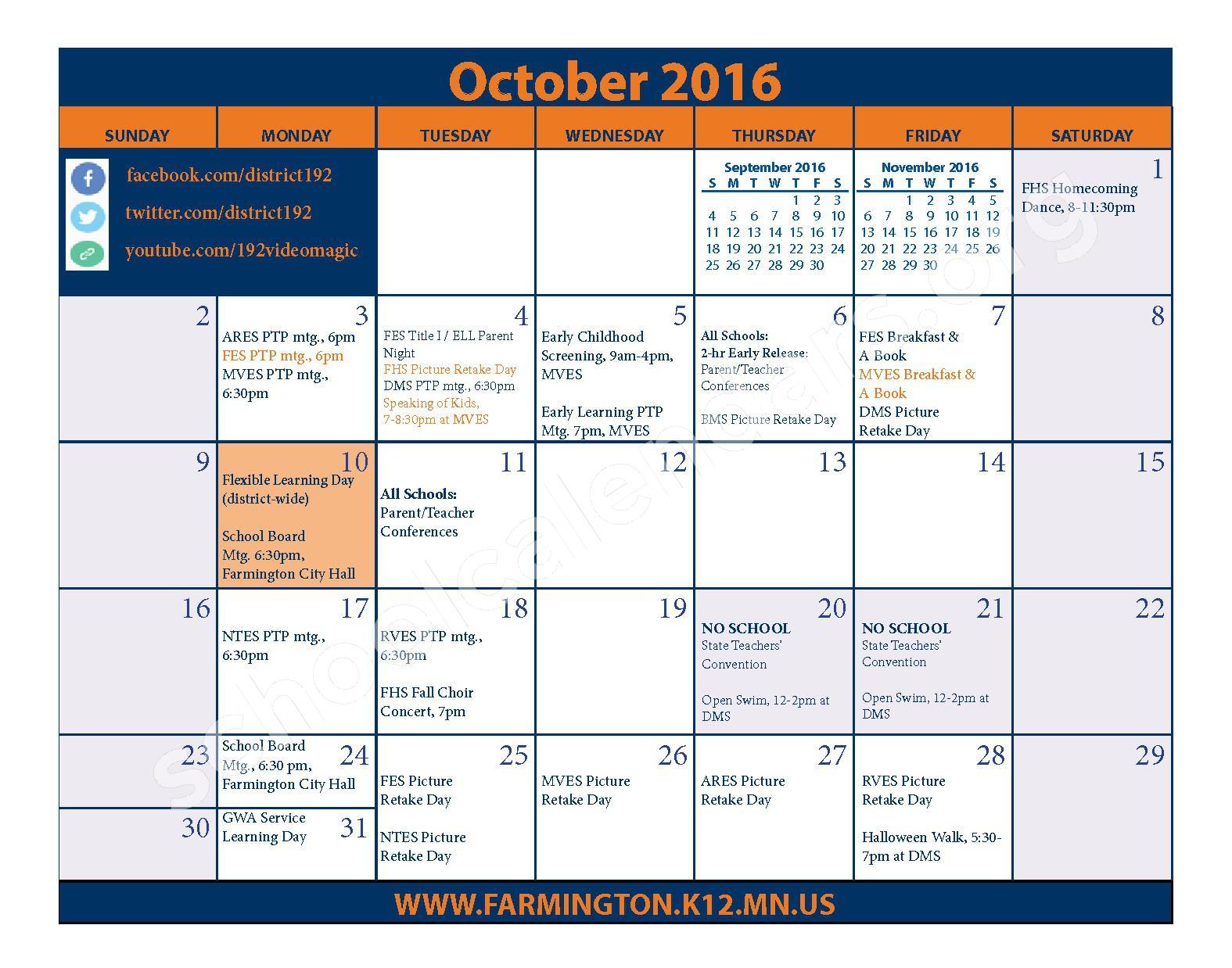 2016 - 2017 District Calendar & Handbook – Farmington Public School District – page 9