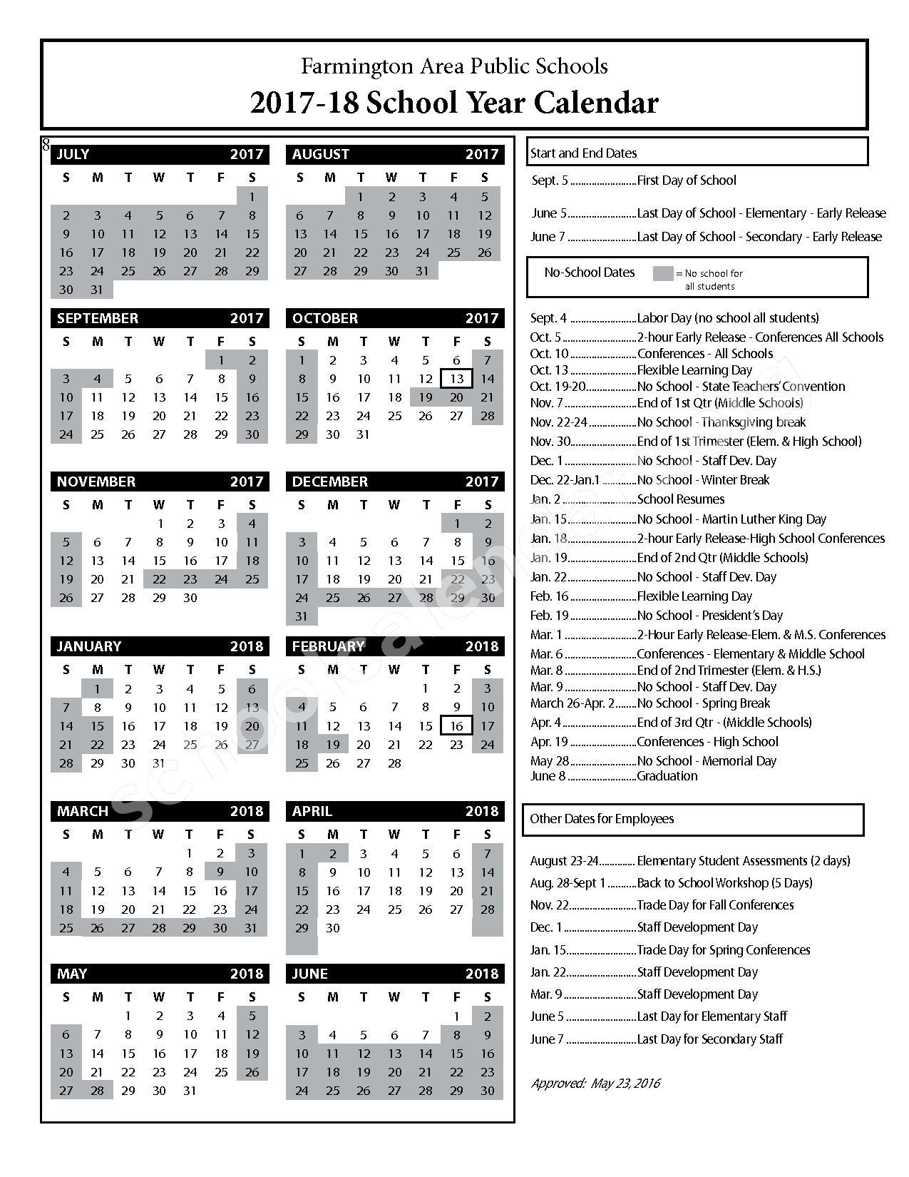 2017 - 2018 District Calendar – Farmington Public School District – page 1
