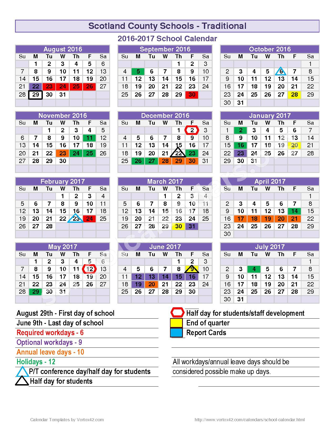 2016 - 2017 School Calendar – Spring Hill Middle School – page 1