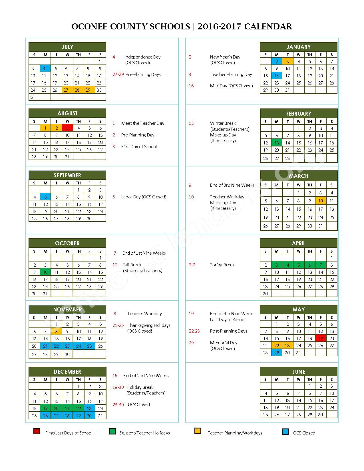 2016 - 2017 School Calendar – Oconee County School District – page 1