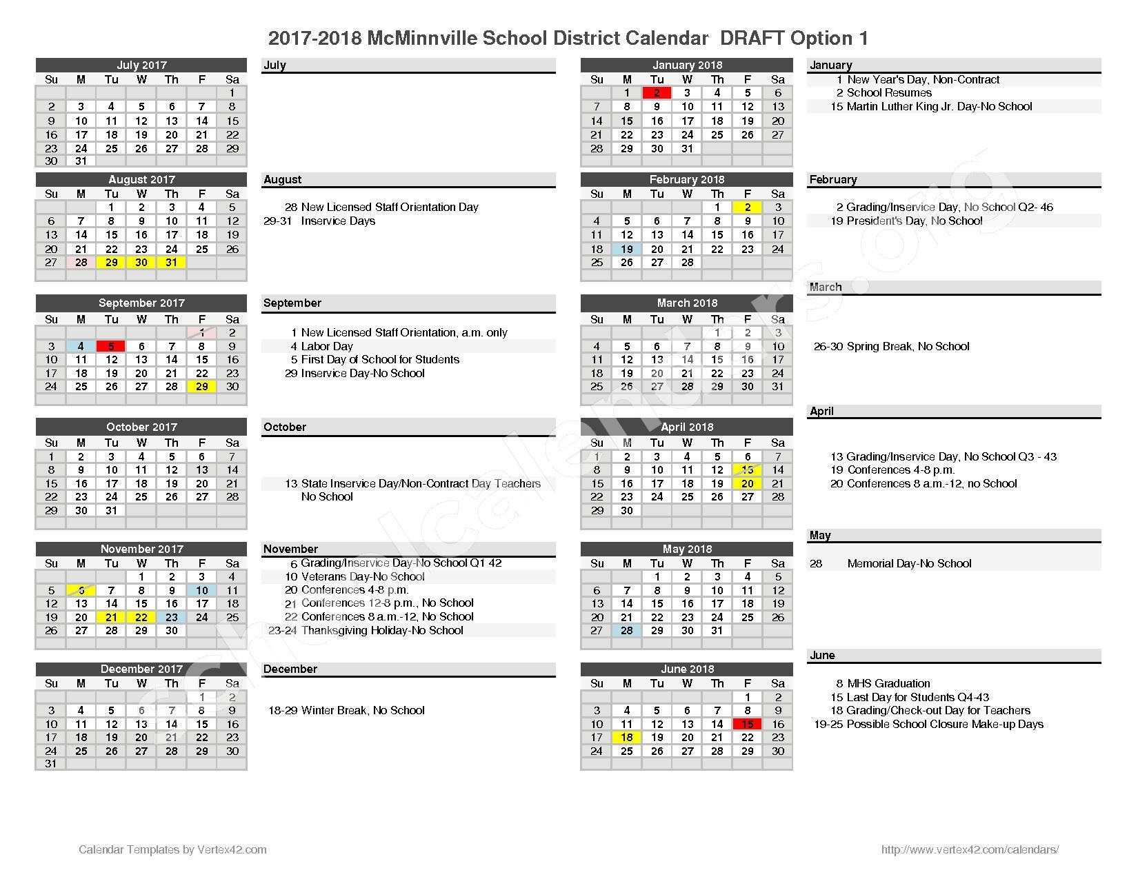 2017 - 2018 School Calendar – McMinnville School District – page 1