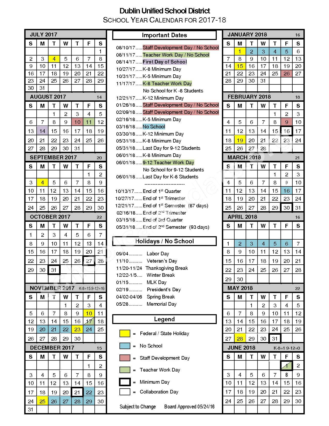 2017 - 2018 School Calendar – Dublin Unified School District – page 1