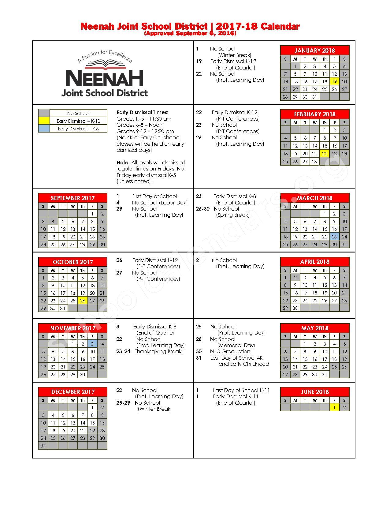 2017 - 2018 School Calendar – Neenah Joint School District – page 1