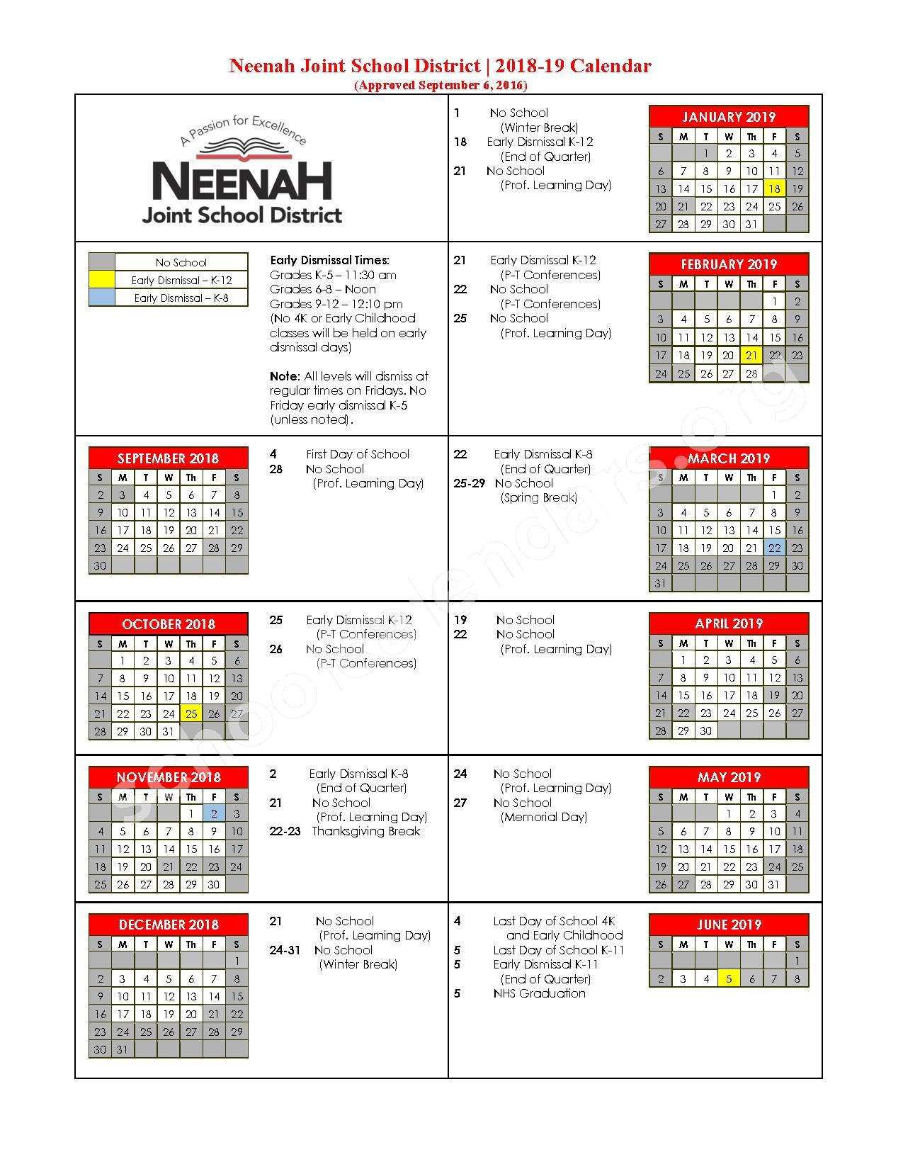 2018 - 2019 School Calendar – Taft Early Learning Center – page 1