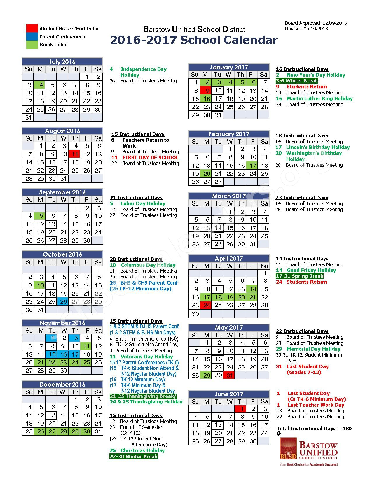 2016 - 2017 School Calendar – Barstow Unified School District – page 1
