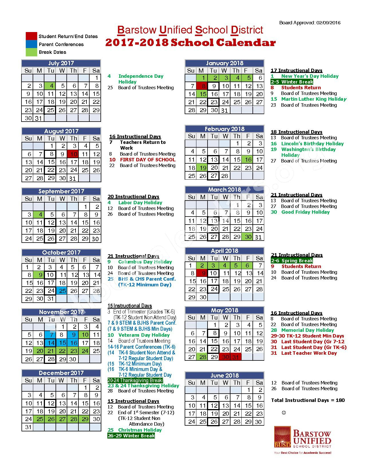 2017 - 2018 School Calendar – Barstow Unified School District – page 1