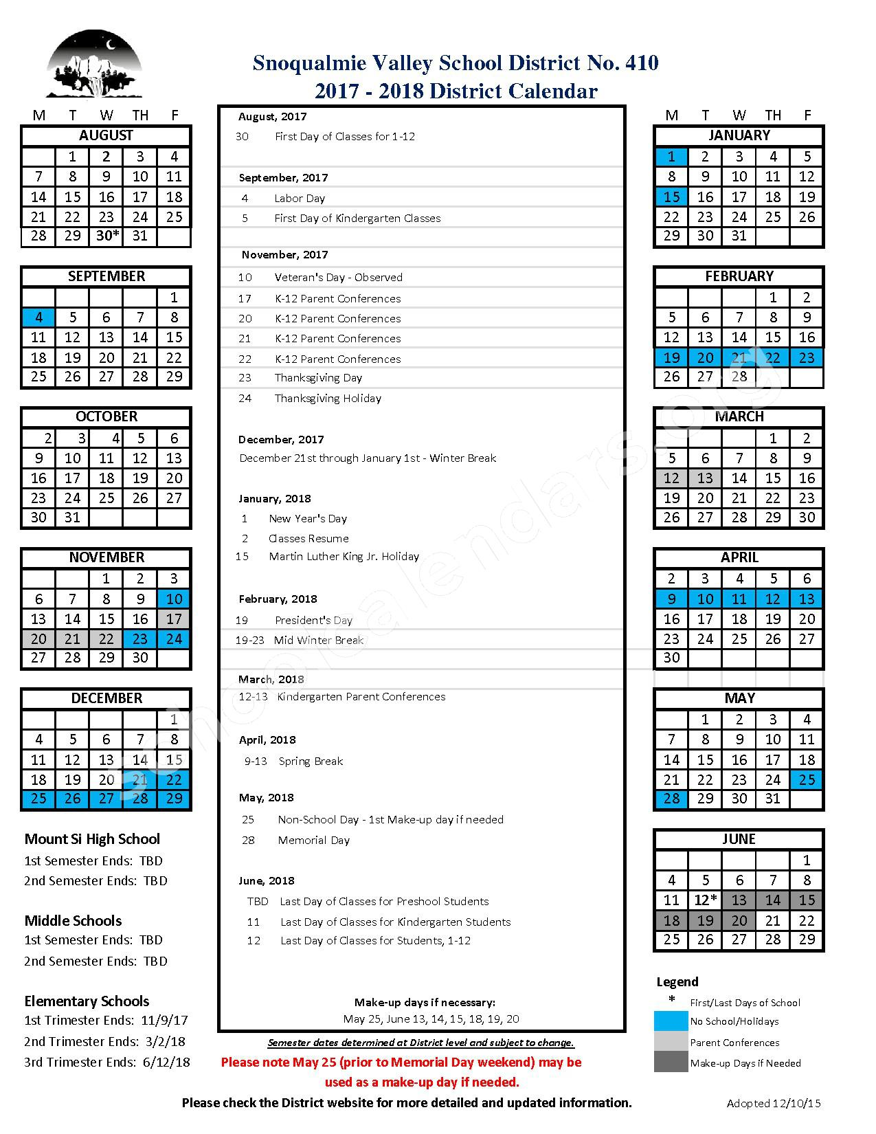 2017 - 2018 District Calendar – Snoqualmie Valley School District – page 1
