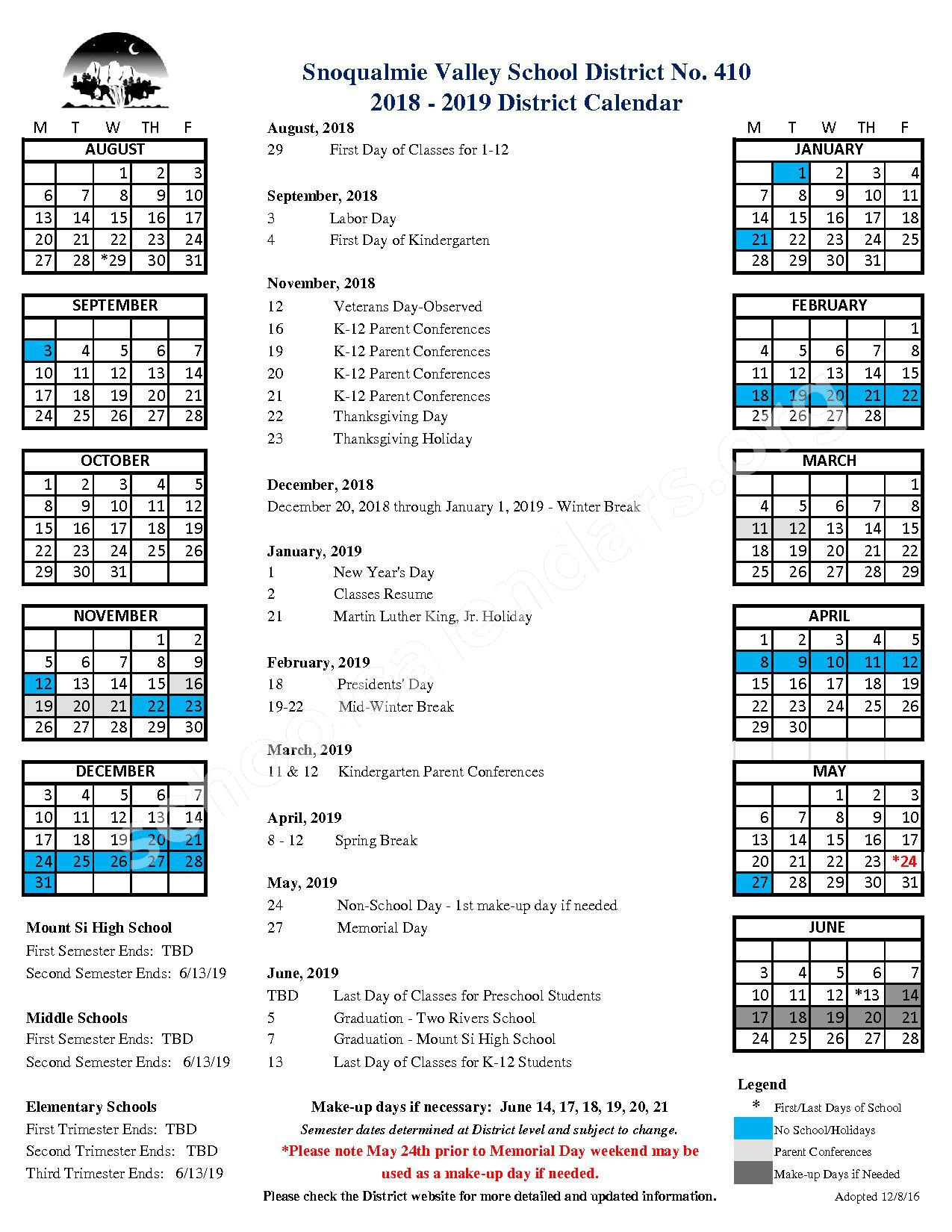2018 - 2019 District Calendar – Snoqualmie Elementary School – page 1