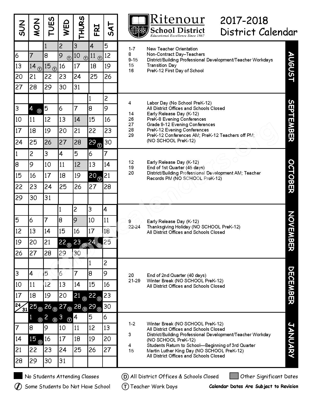 2017 - 2018 District Calendar – Ritenour School District – page 1