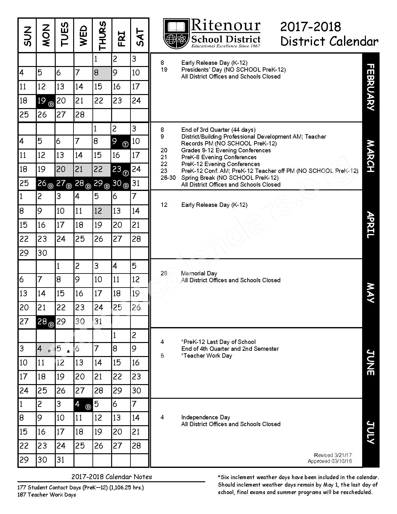 2017 - 2018 District Calendar – Ritenour School District – page 2