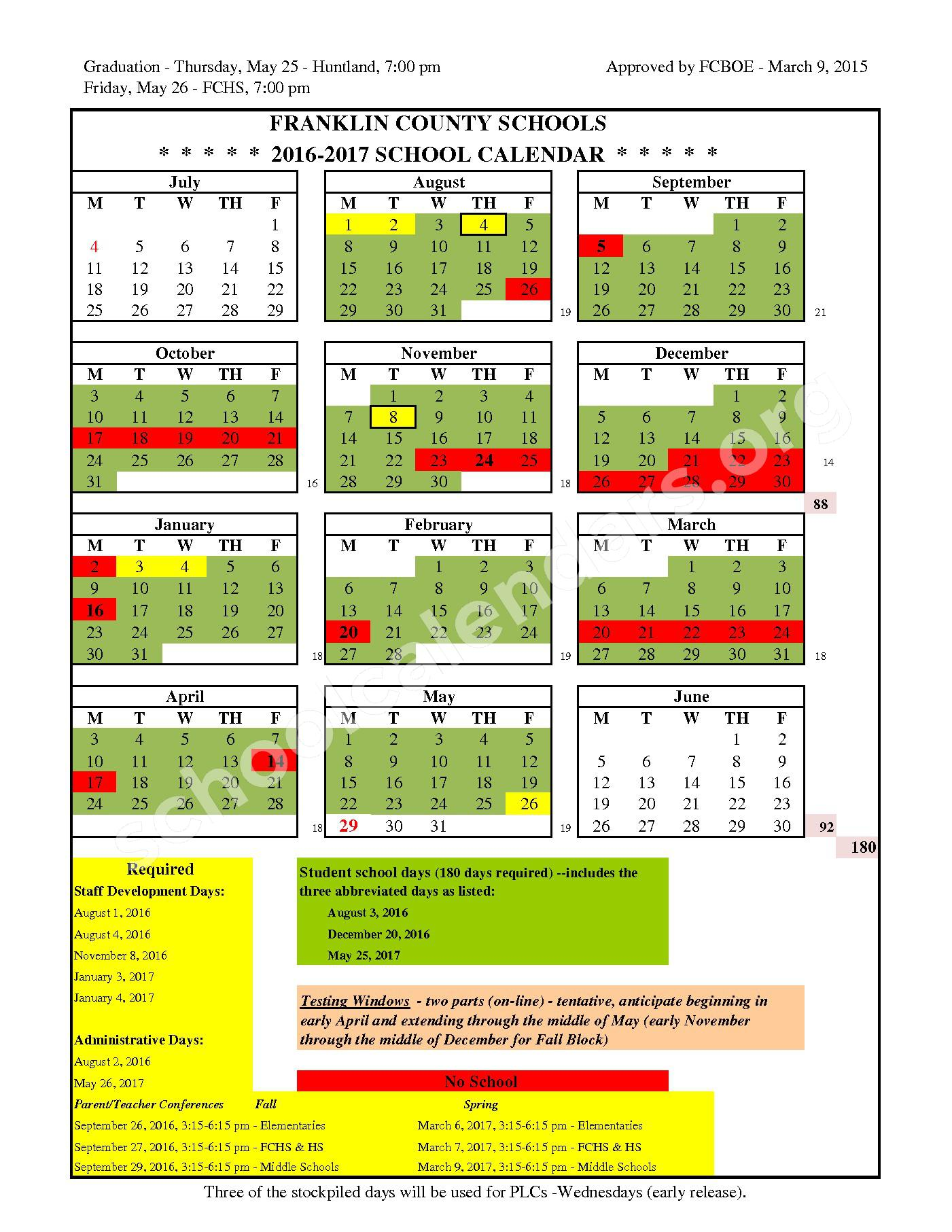 2016 - 2017 School Calendar page 1