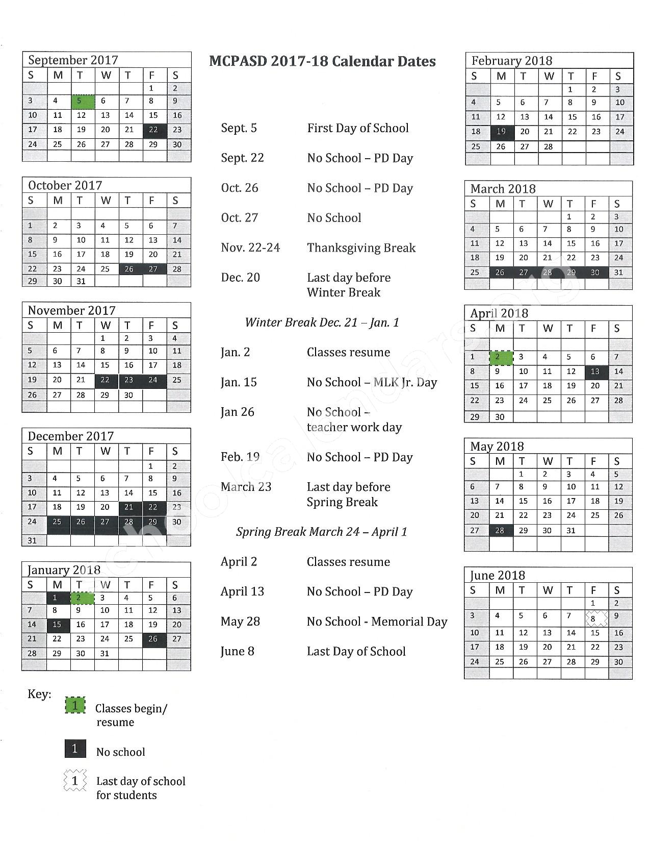 2017 - 2018 School Calendar – Middleton-Cross Plains Area School District – page 1