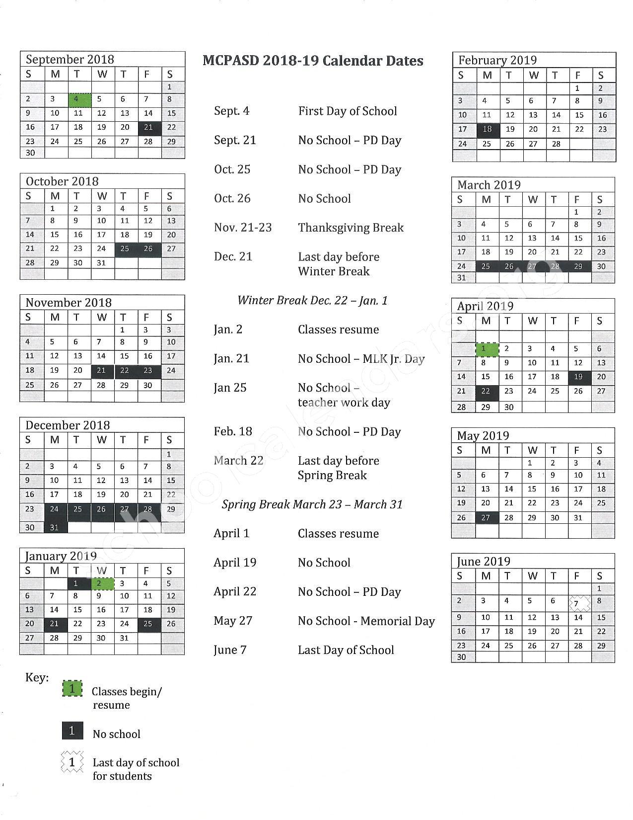 2018 - 2019 School Calendar – Middleton-Cross Plains Area School District – page 1