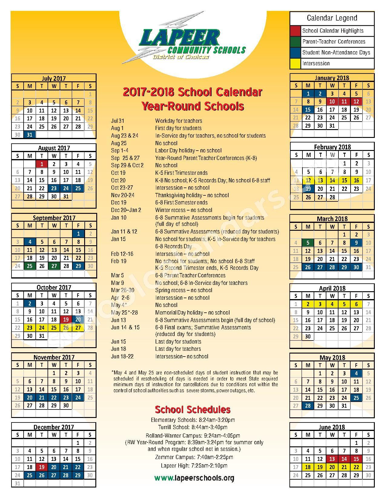 2017 - 2018 Year-Round School Calendar – Lapeer Community Schools – page 1